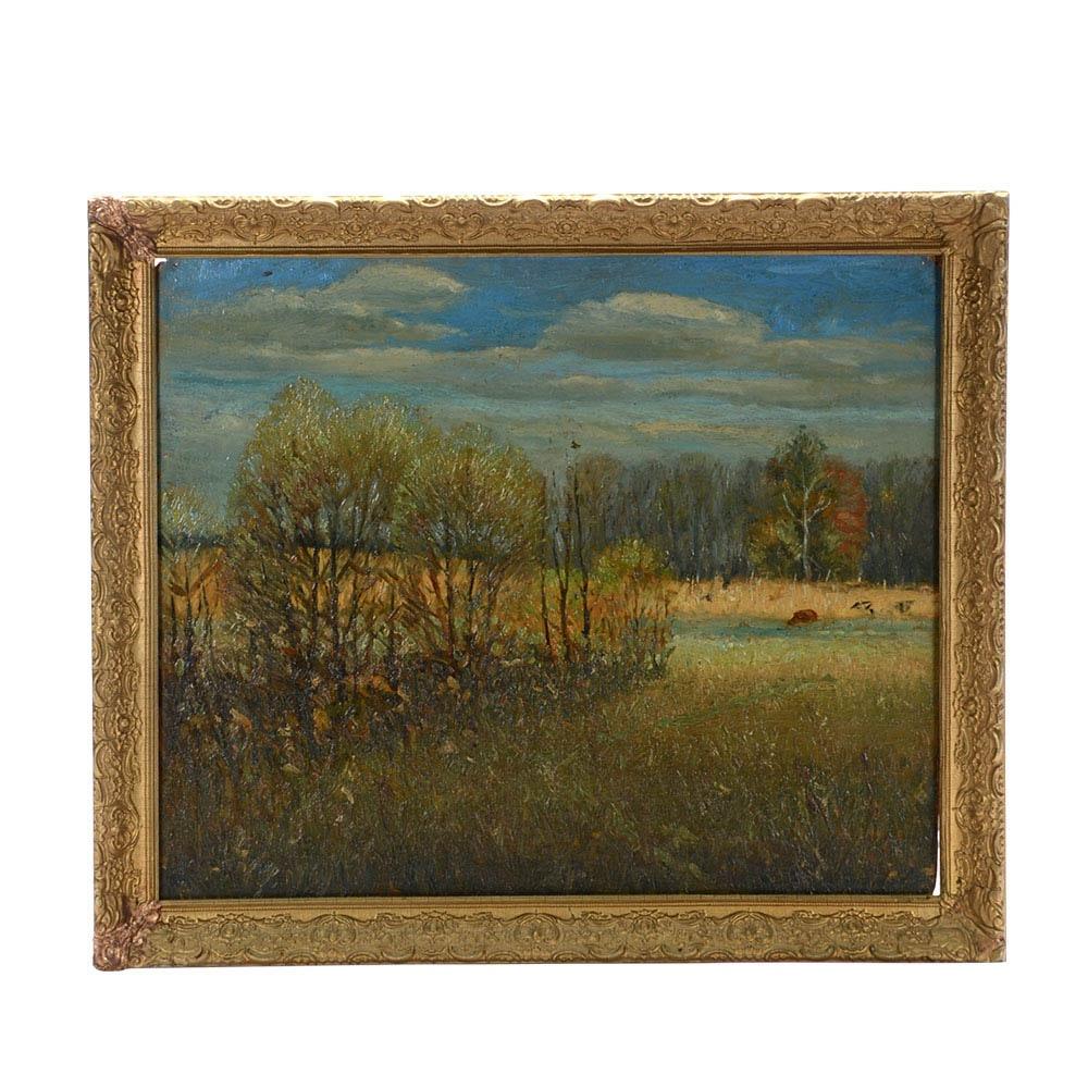 Marston Hodgin Original 1928 Oil Landscape on Composite Board