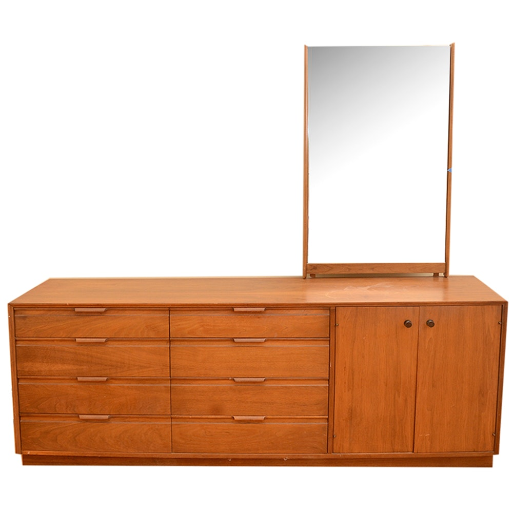 Mid Century Modern Walnut Dresser and Mirror by American of Martinsville