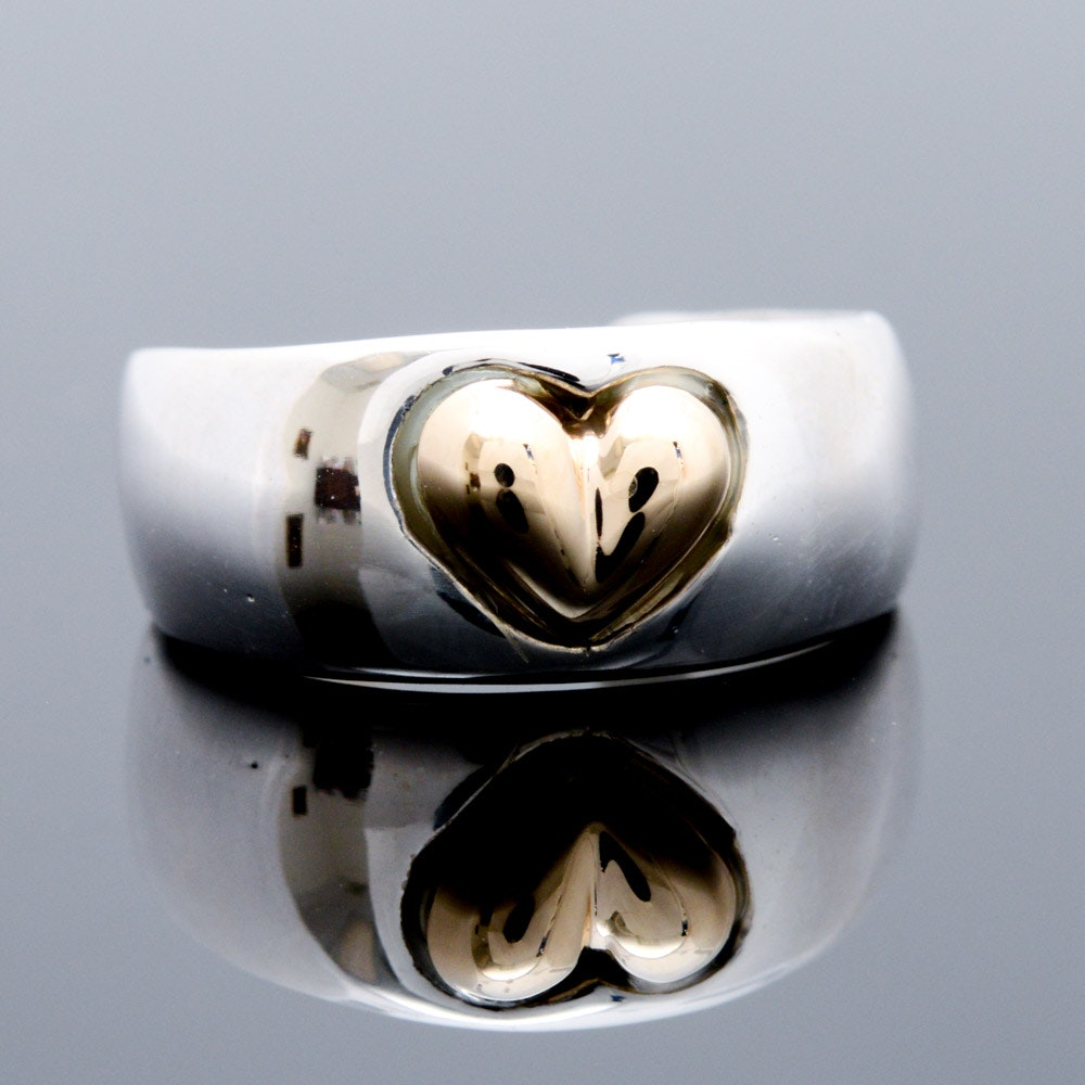 Joseph Esposito Sterling Silver and 14K Yellow Gold Heart Toe Ring