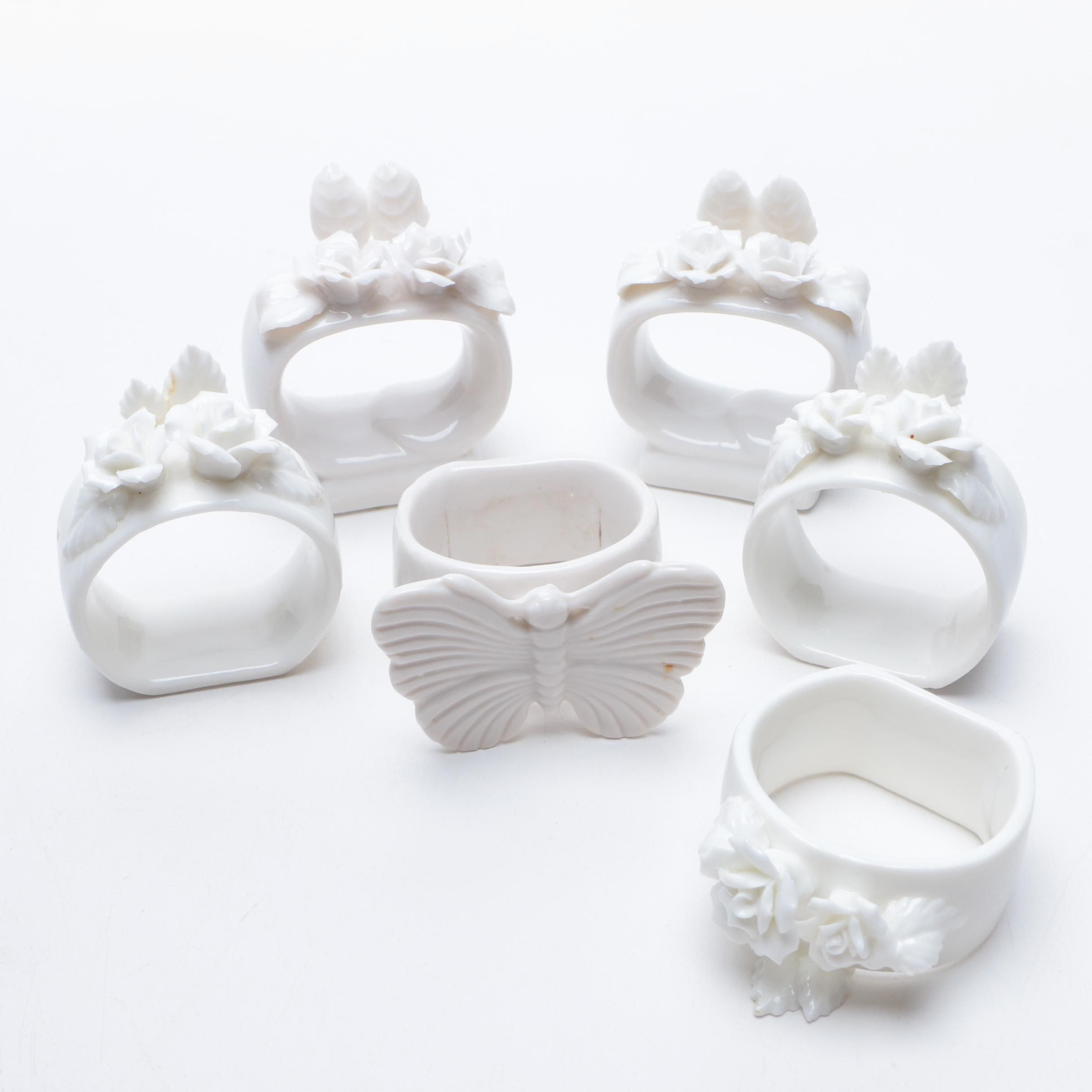 Porcelain Napkin Rings With Rose and Butterfly Motifs