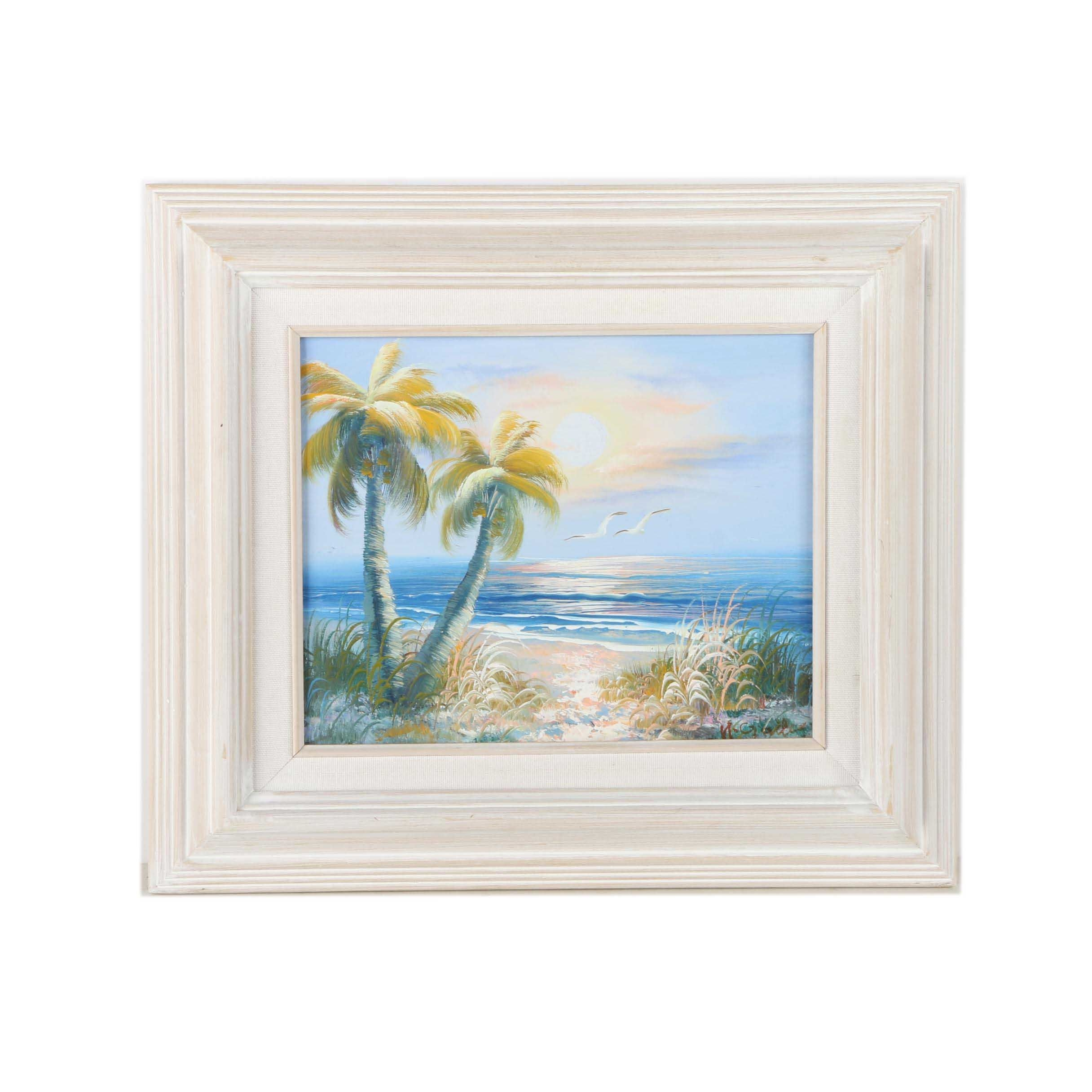 H. Gailey Landscape Oil Painting on Canvas of Beach at Daybreak