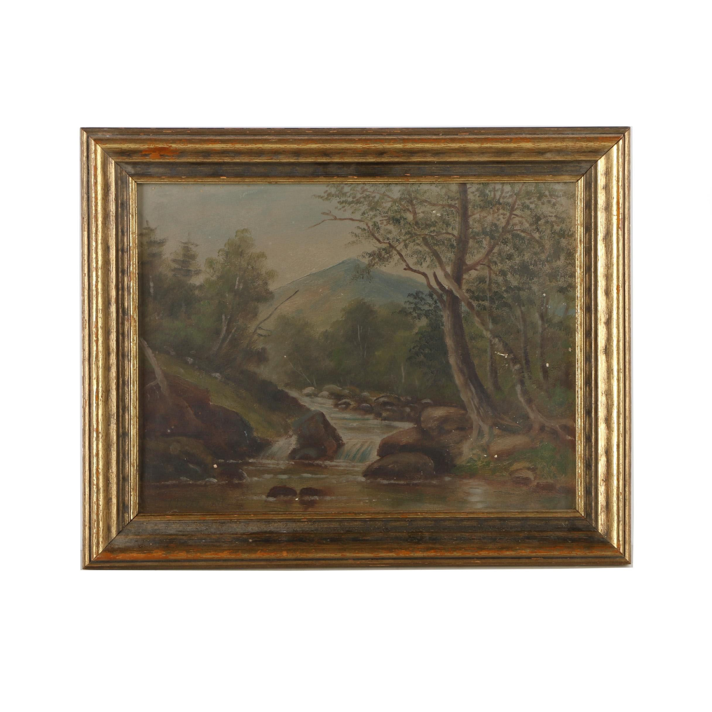 E. W. Parkhurst Oil Painting on Academy Board of Landscape
