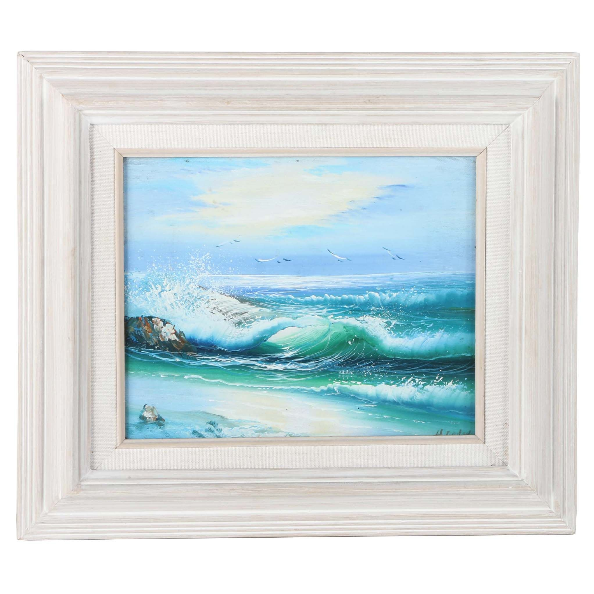 H. Gailey Landscape Oil Painting on Canvas of Breaking Waves