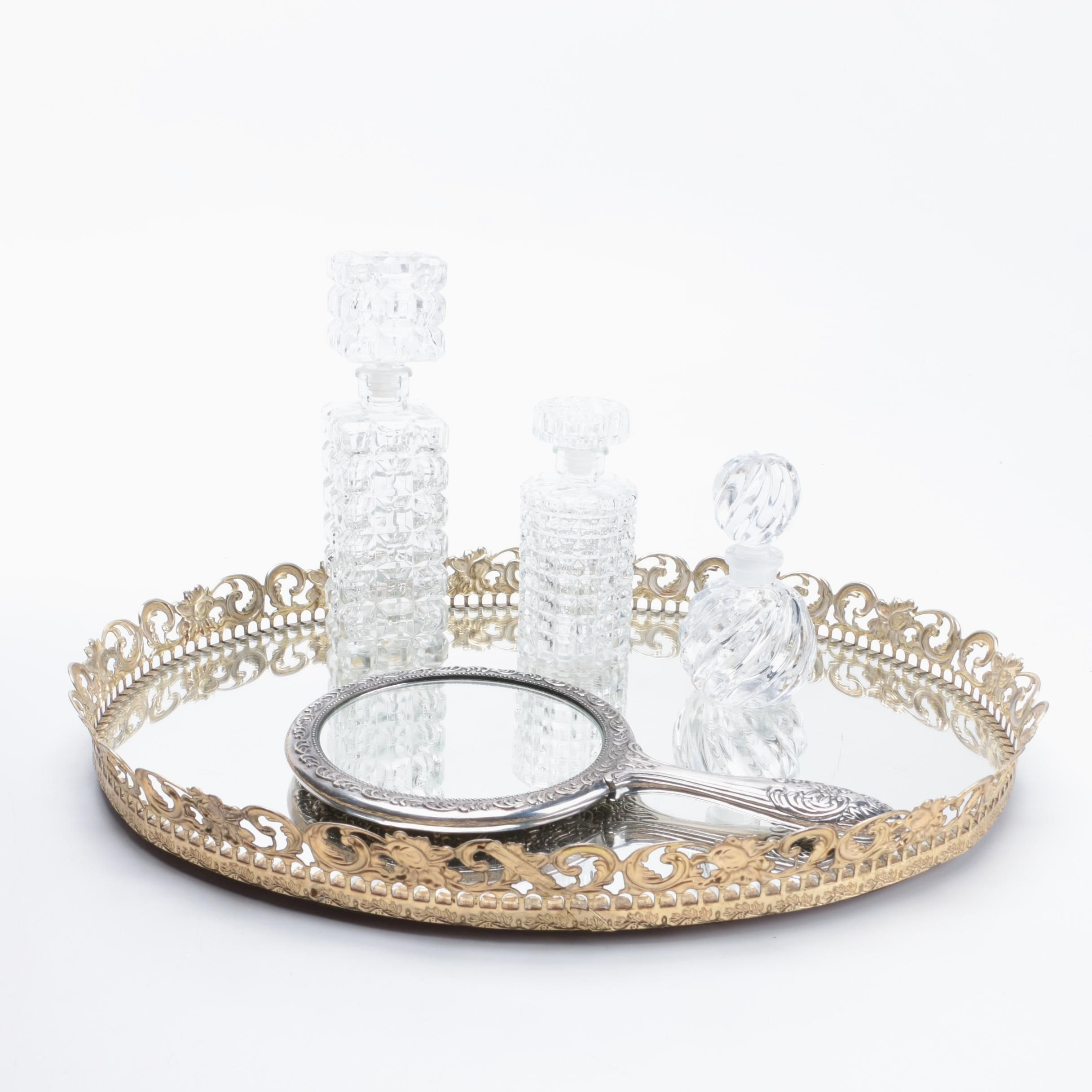 Crystal Bottles, Mirror, and Tray