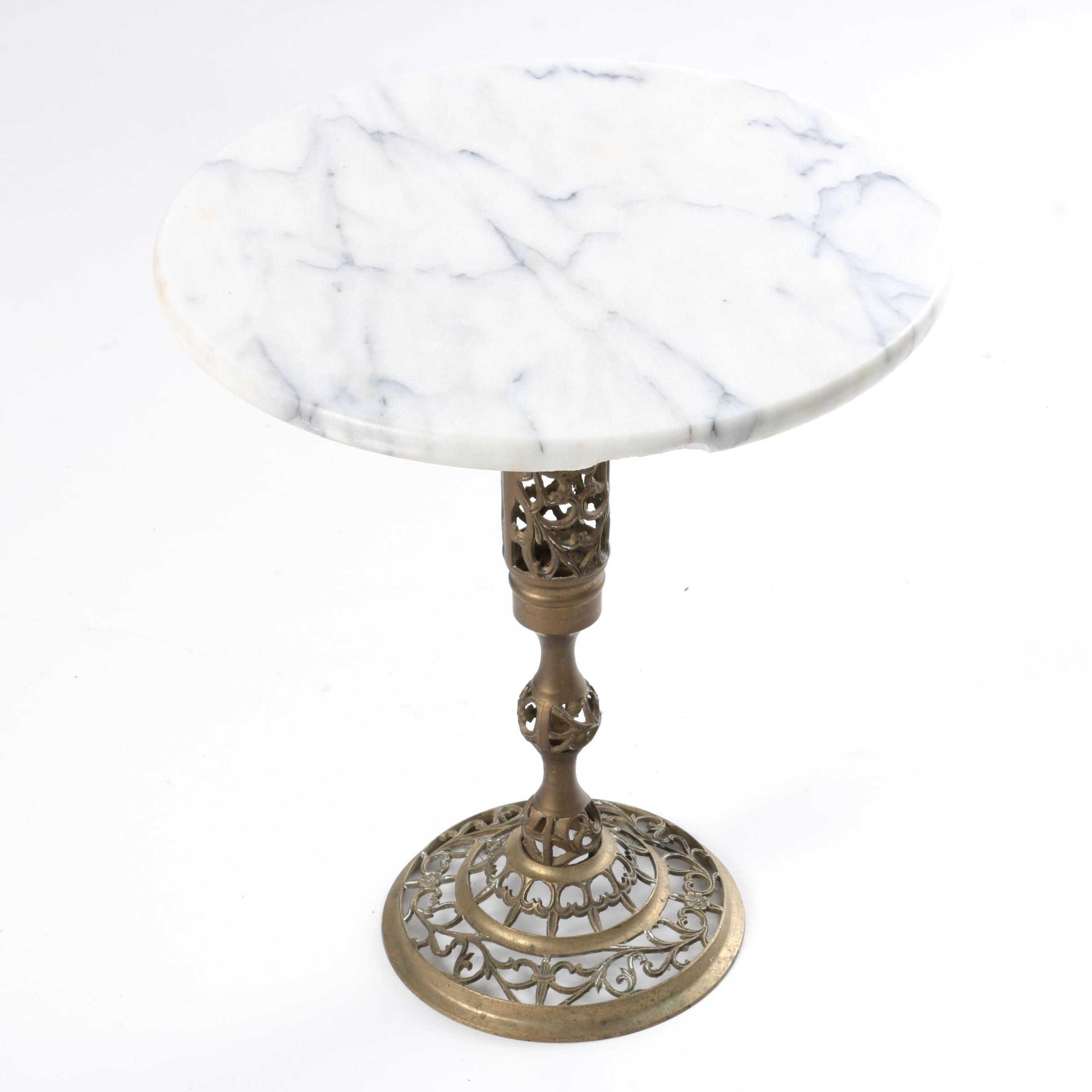 Marble Top Brass Accent Table