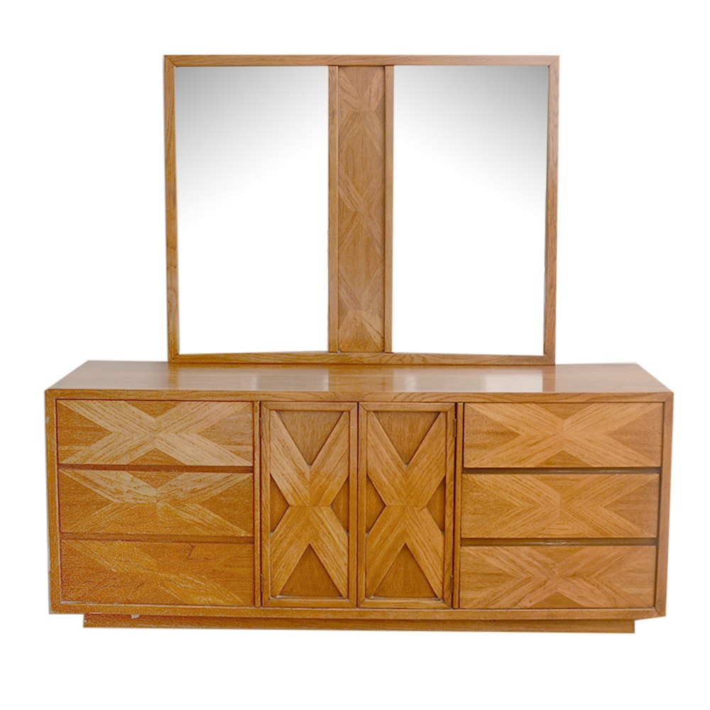 Vintage Oak Dresser With Mirror by Lane