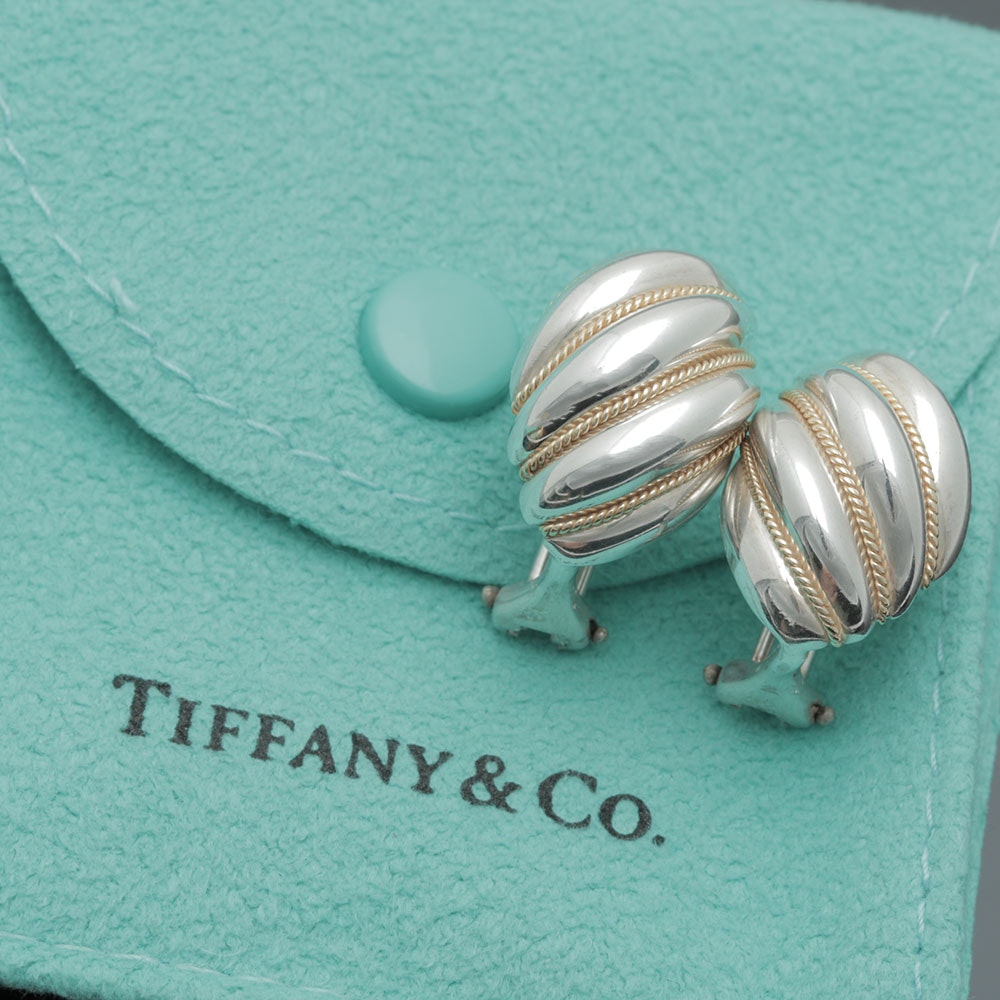 Tiffany & Co. Sterling Silver and 18K Yellow Gold Shrimp Earrings