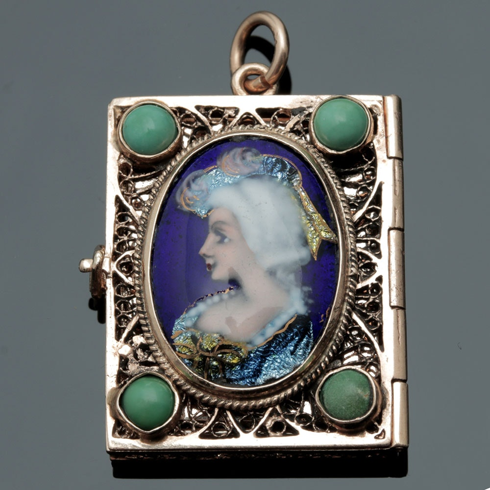 14K Yellow Gold Turquoise and Hand Painted Portrait Enamel Locket