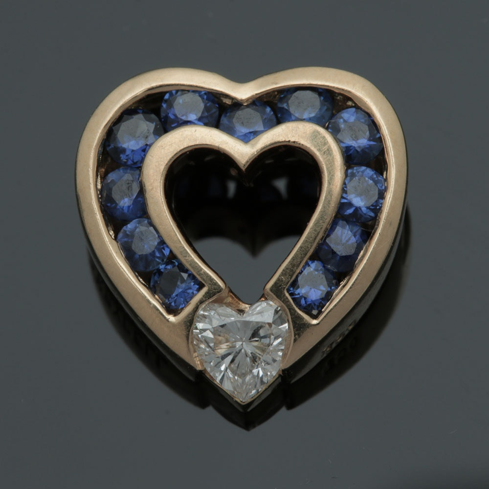 Charles Krypell 18K Yellow Gold Diamond and Blue Sapphire Heart Pendant