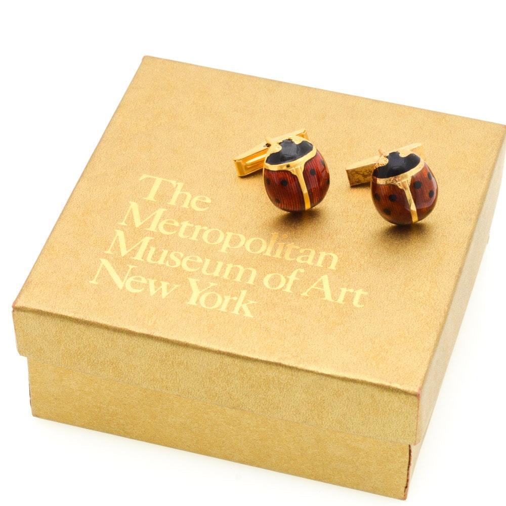 Metropolitan Museum of Art Sterling Silver Ladybug Cuff Links