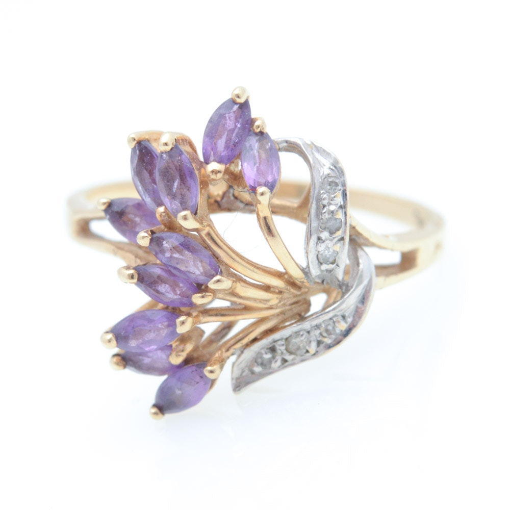 10K Samual Aaron Yellow Gold Ring with Amethyst and Diamond Ring