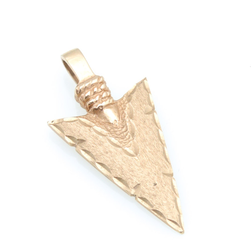 14k yellow gold arrowhead pendant ebth 14k yellow gold arrowhead pendant aloadofball Image collections