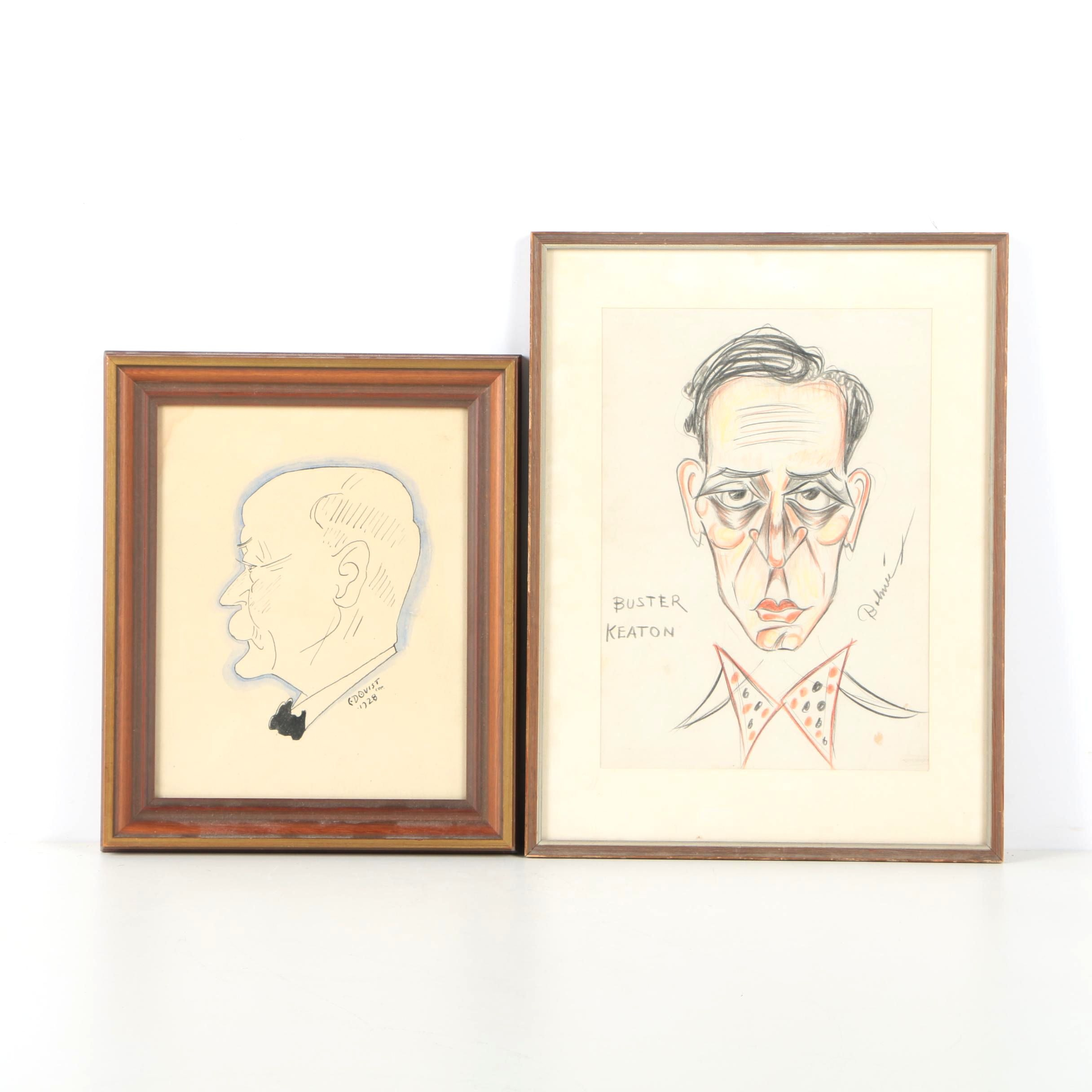 Caricatures Featuring Drawing of Buster Keaton