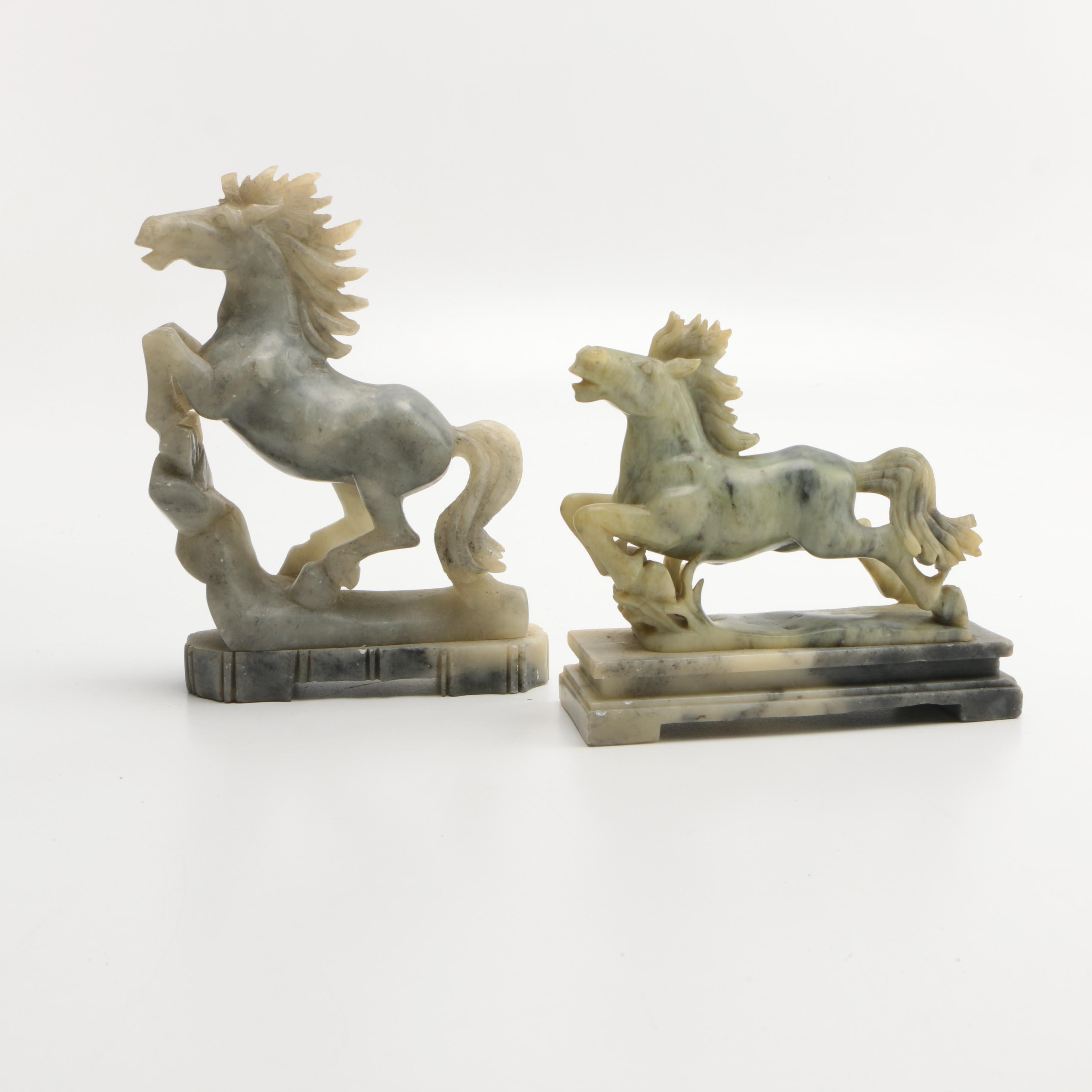 Chinese Soapstone Horse Statues