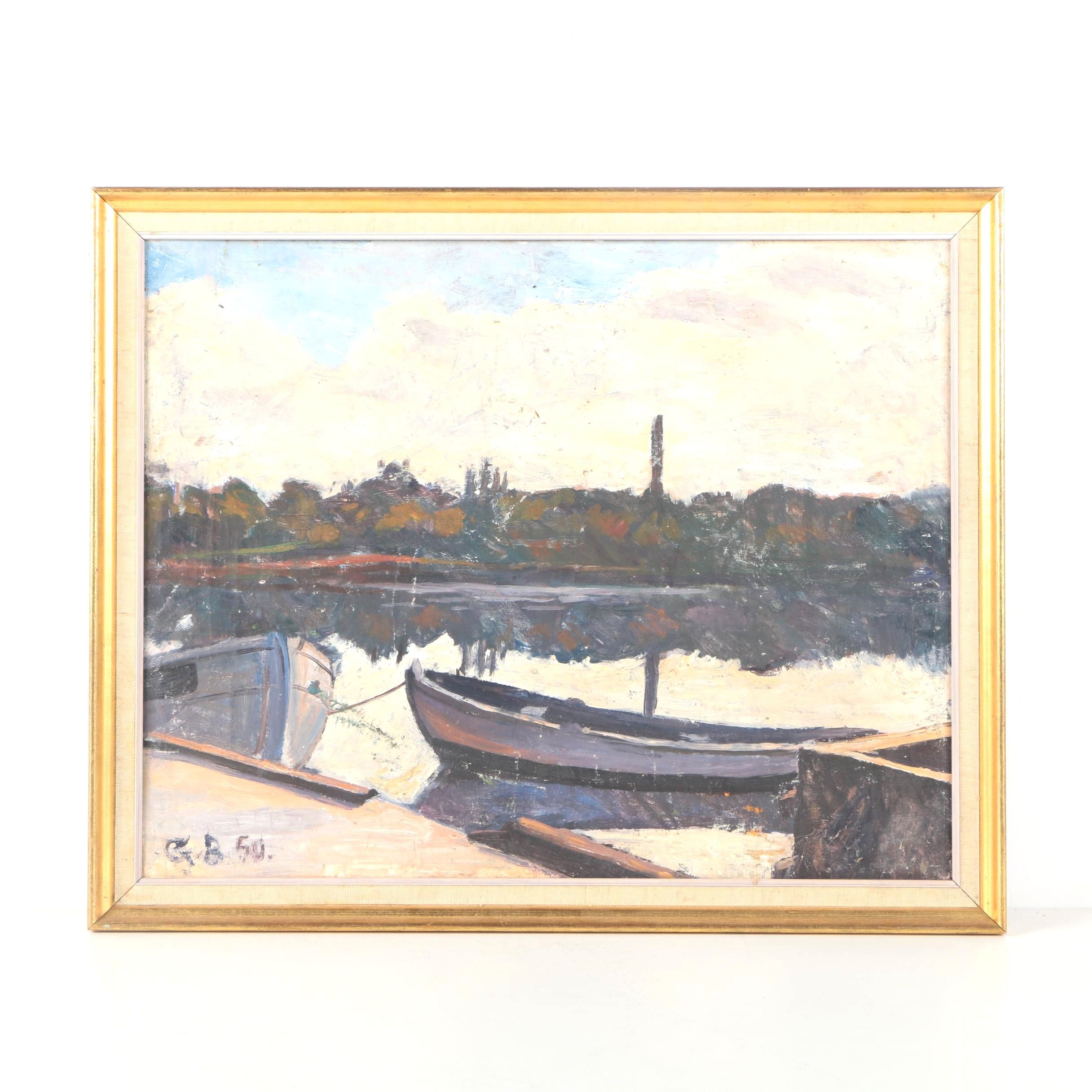 1950 G. B. Oil Painting Of Boat Dock
