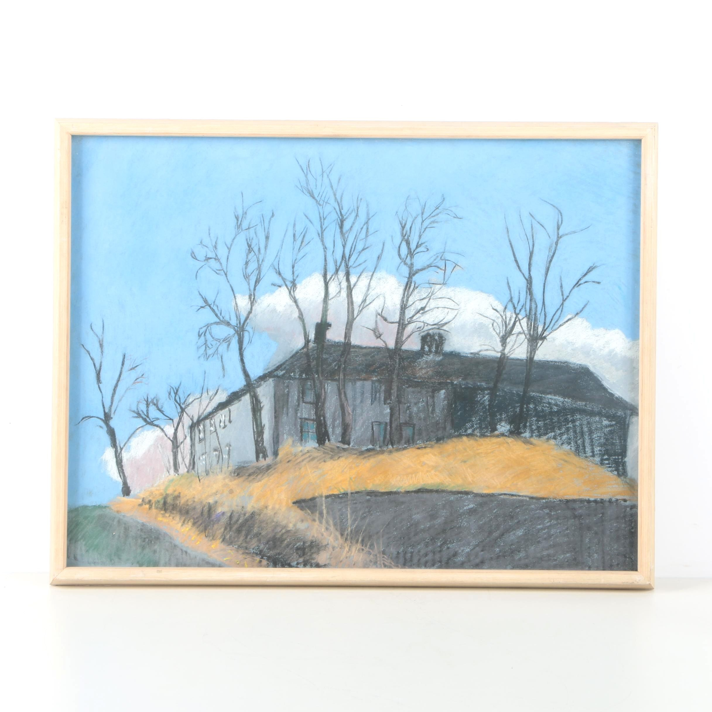 1979 E. Ödmann Oil Pastel Drawing on Paper of a Country Manor