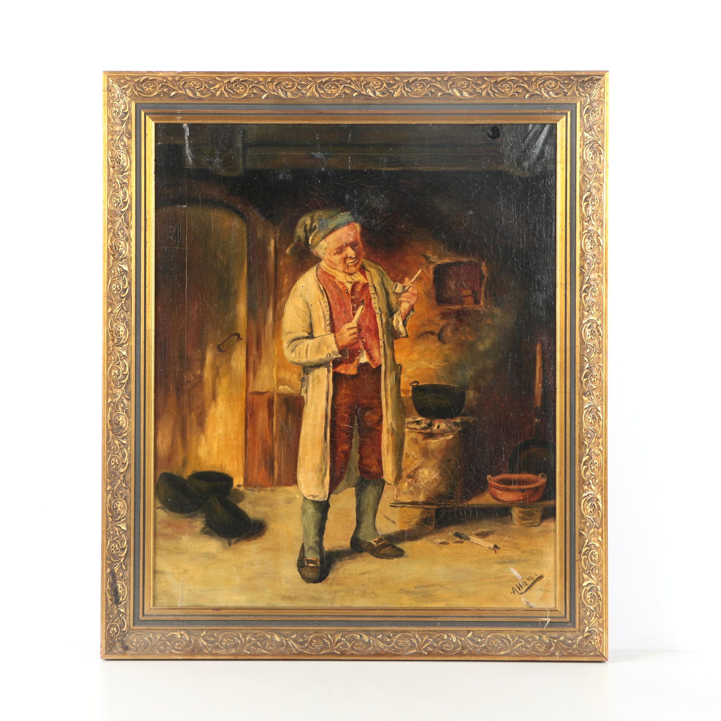 Alla Oil Painting of Man Holding a Pipe