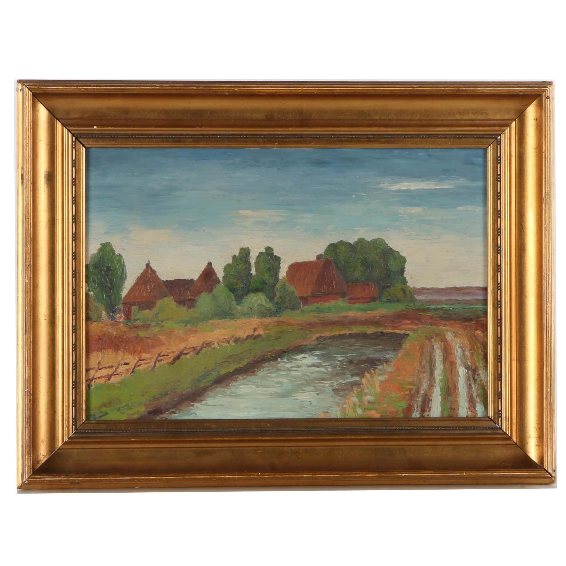 Oil Painting on Canvas of Pastoral Landscape