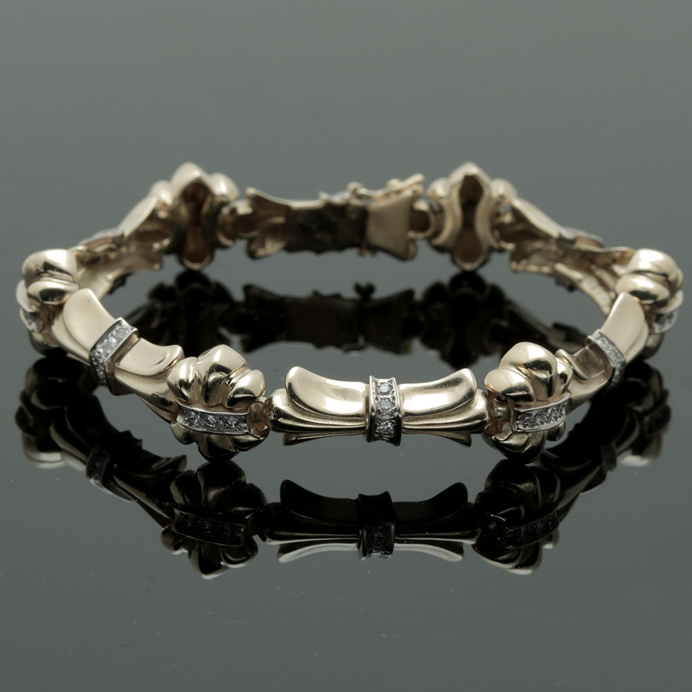 14K Yellow Gold Fleur de Lis Diamond Bracelet