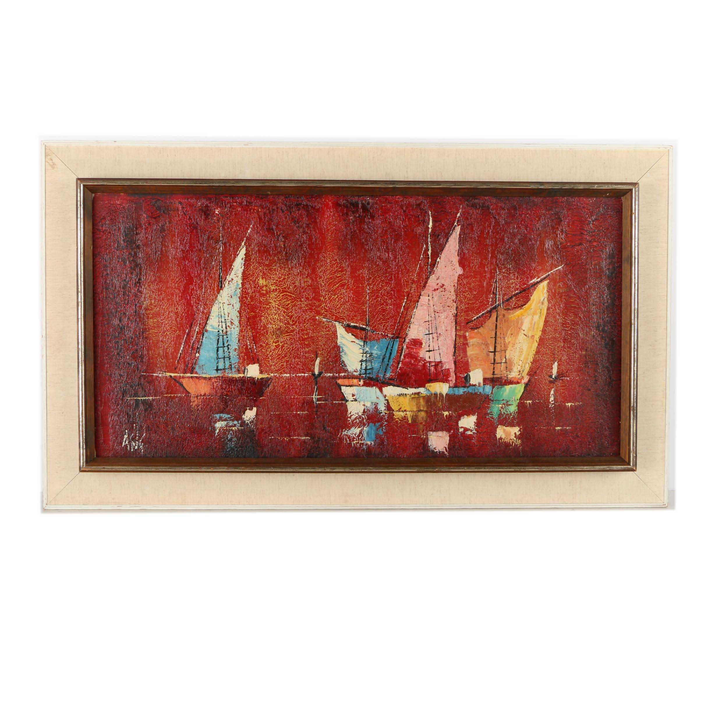 Asig Oil Painting of Sailboats