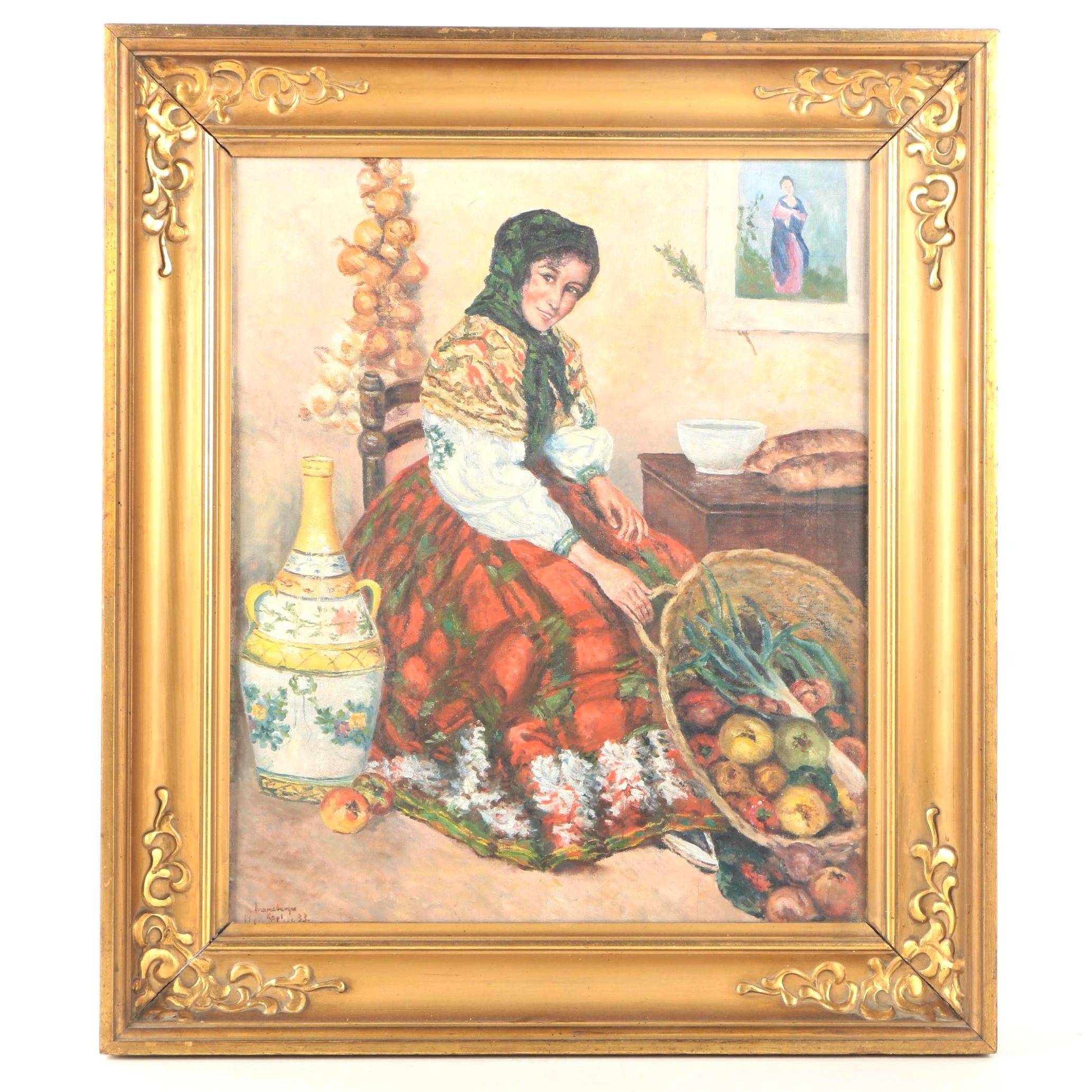 Mid-Century Oil Painting on Canvas of Woman With Basket of Vegetables