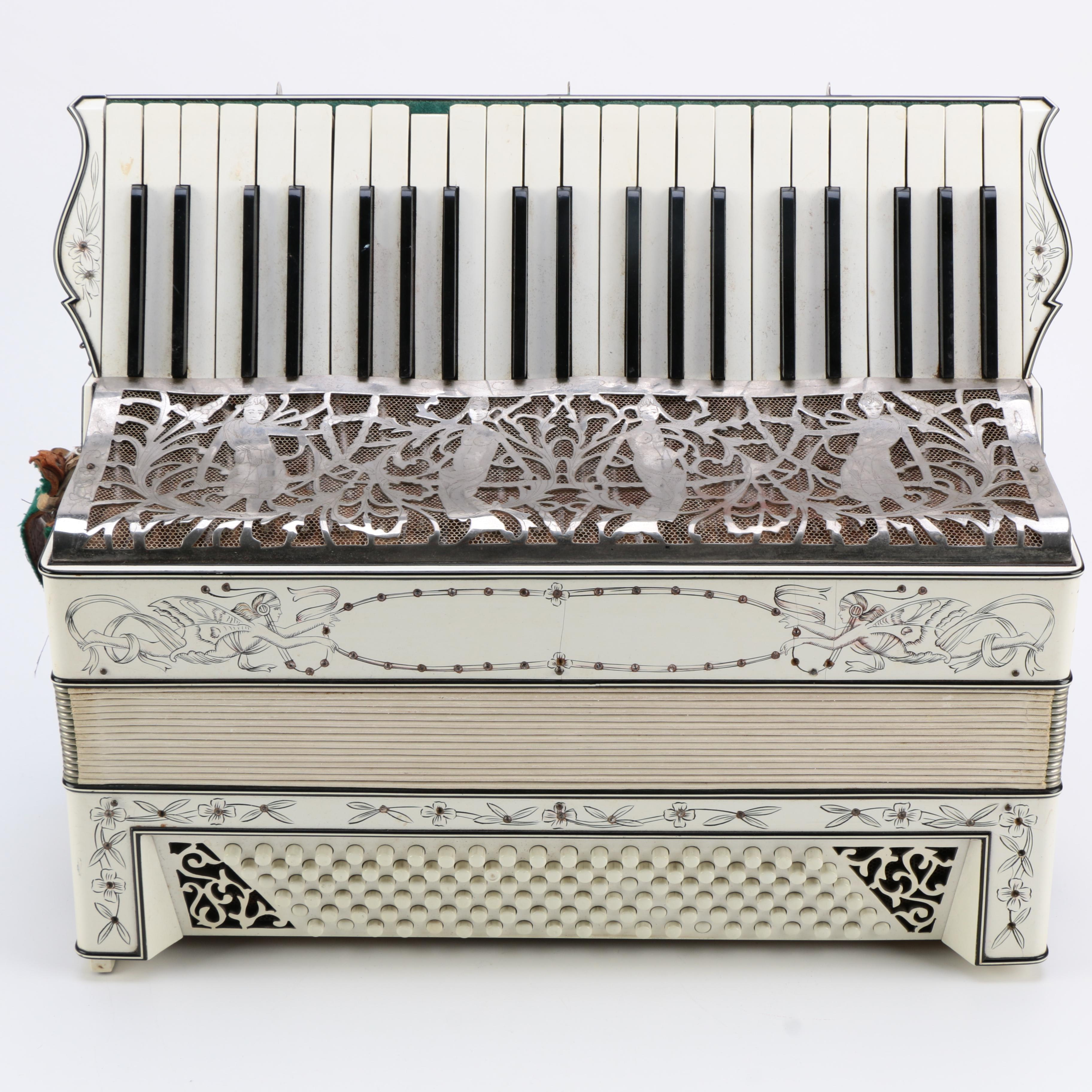 Art Nouveau Inspired Piano Accordion With Floral and Figural Designs