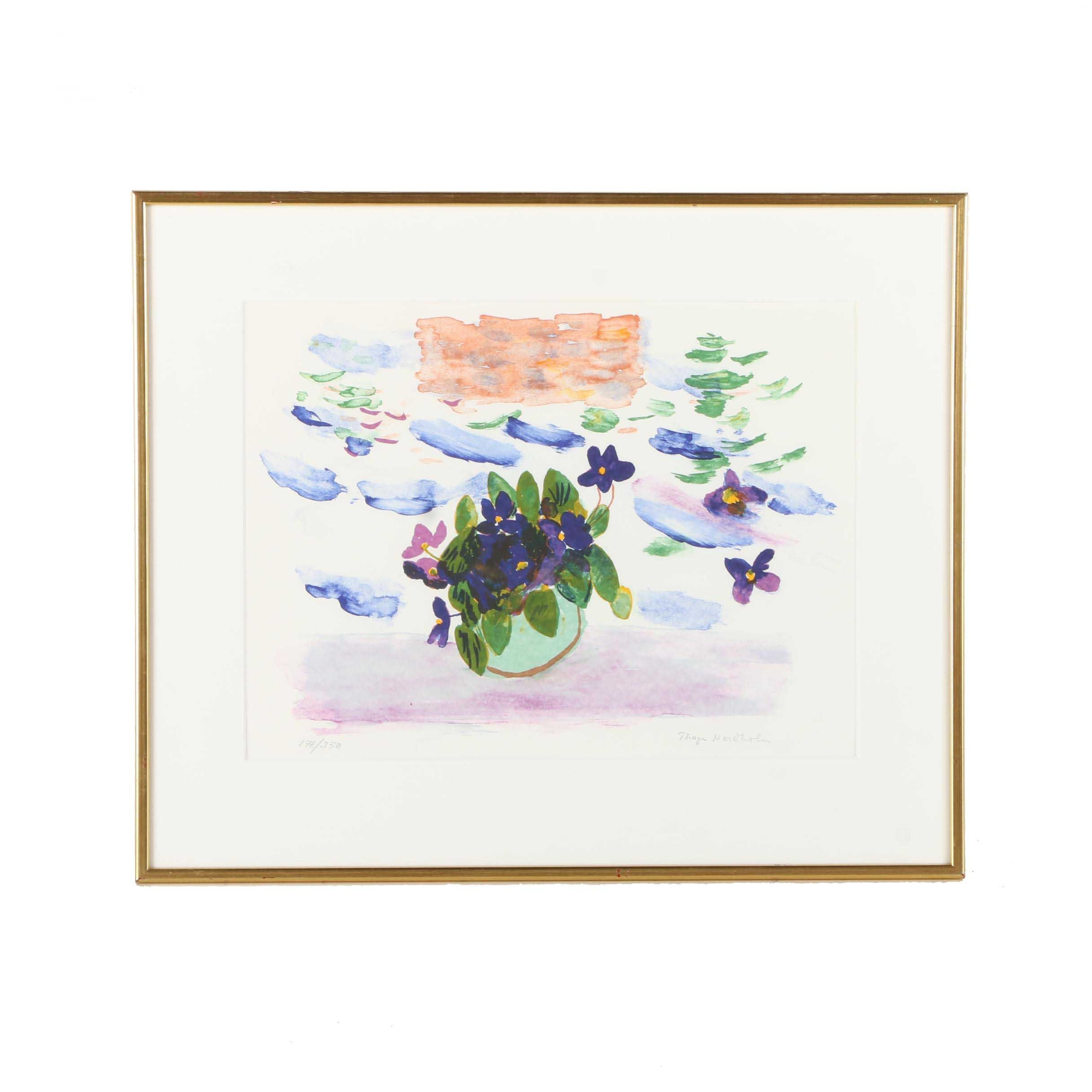 Limited Edition Lithograph of Flowers After Thage Nordholm