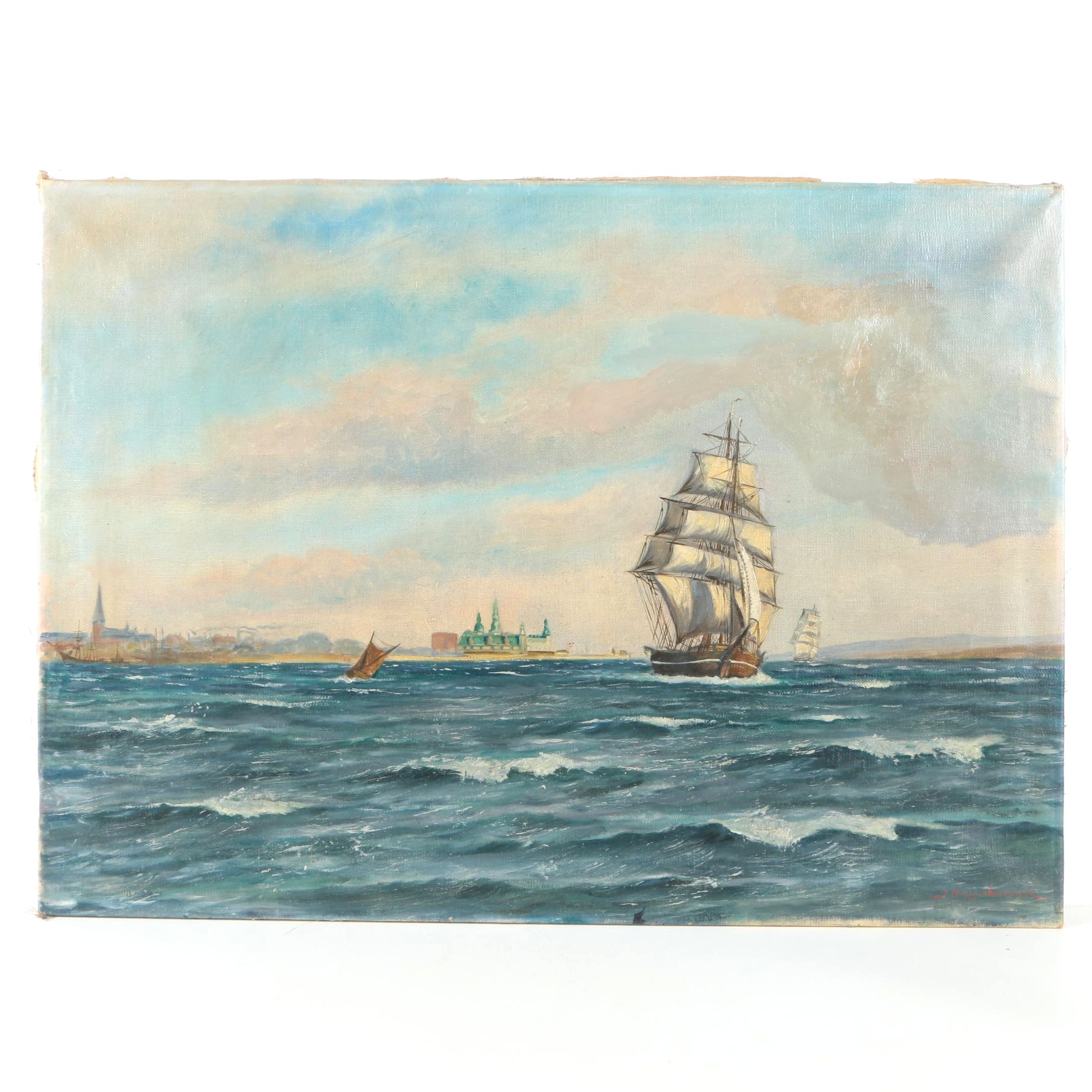 Jens Kongshammer Oil Painting on canvas of Ship Scene