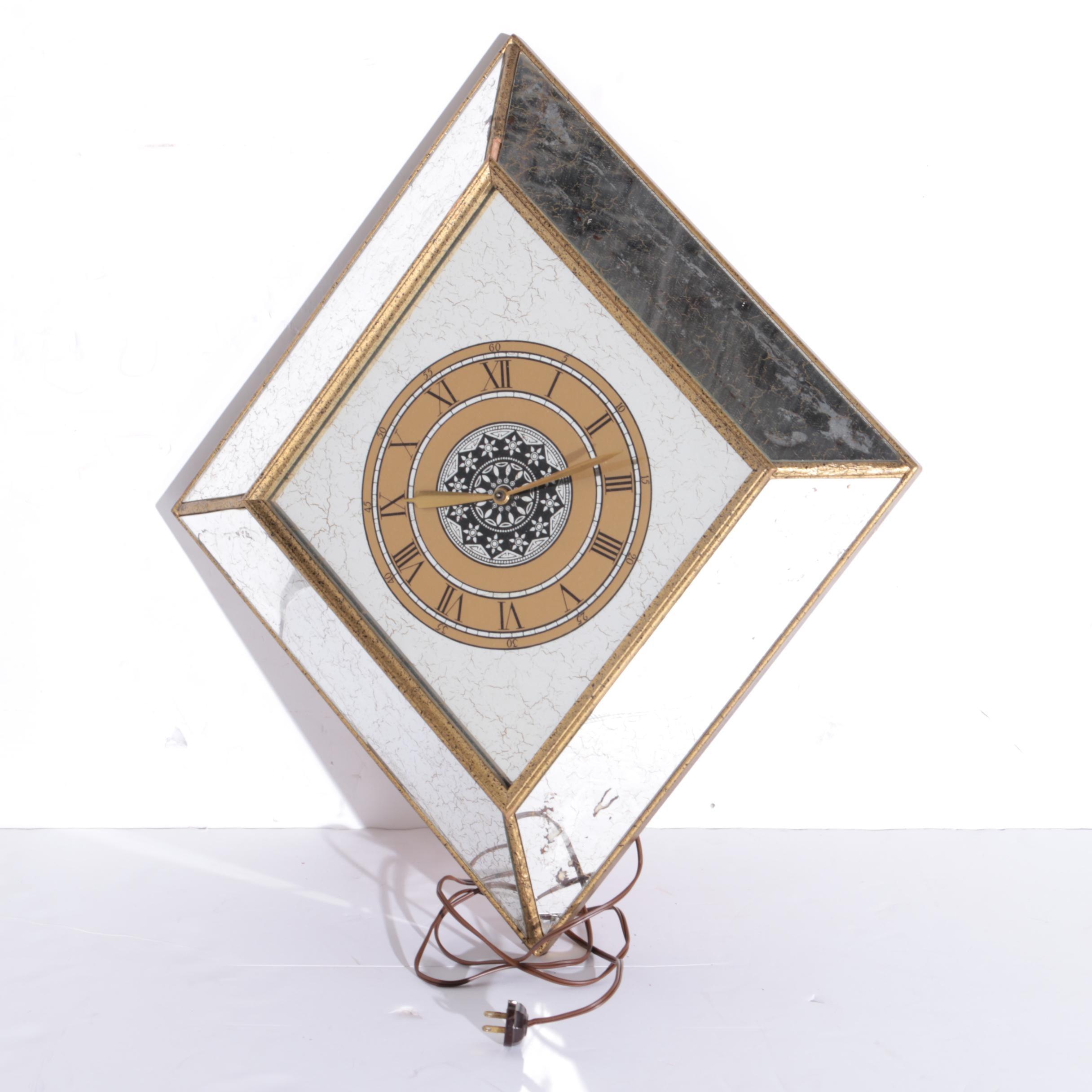 Diamond-Shaped Glass Mirror Clock