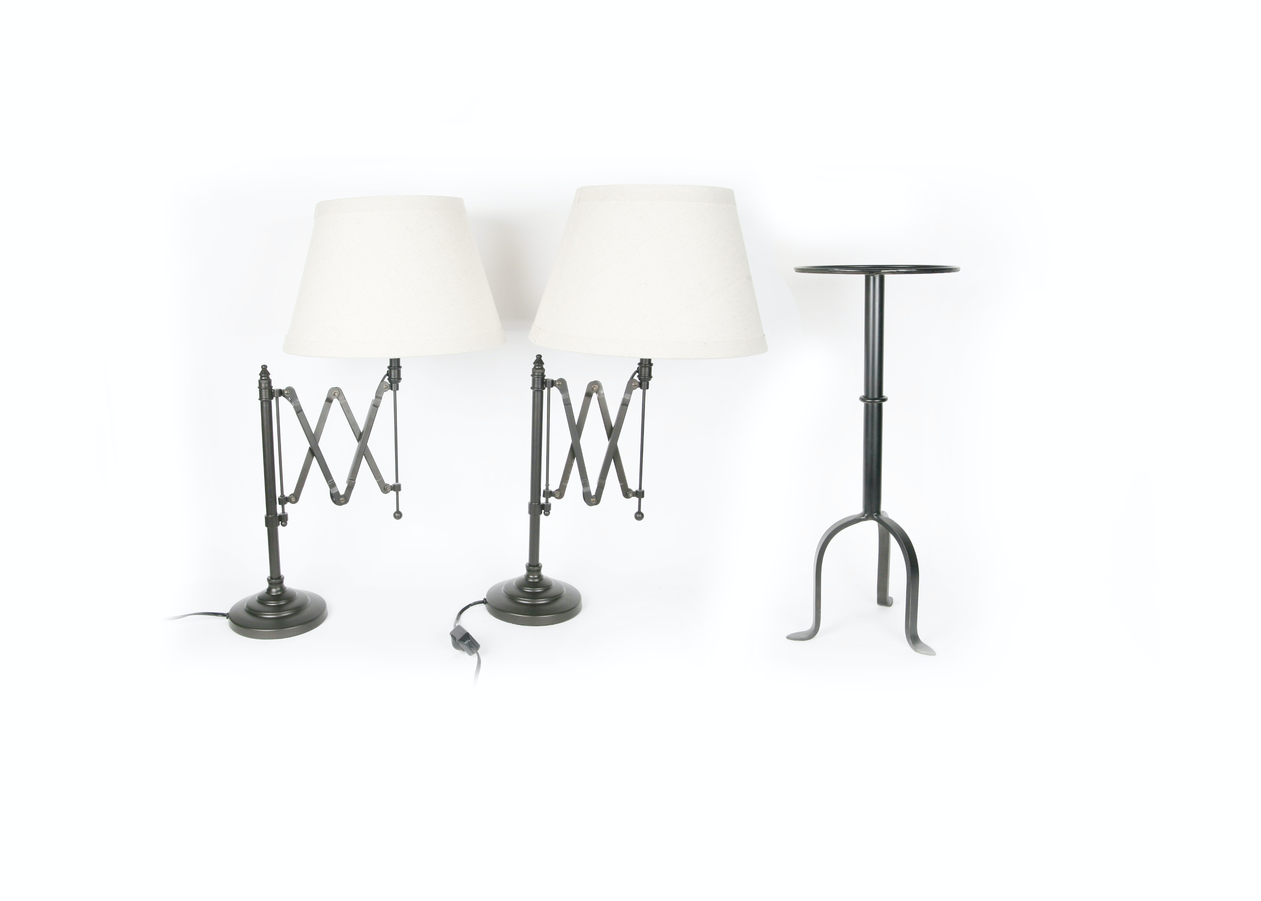 Pair of Table Lamps and Matching Side Table