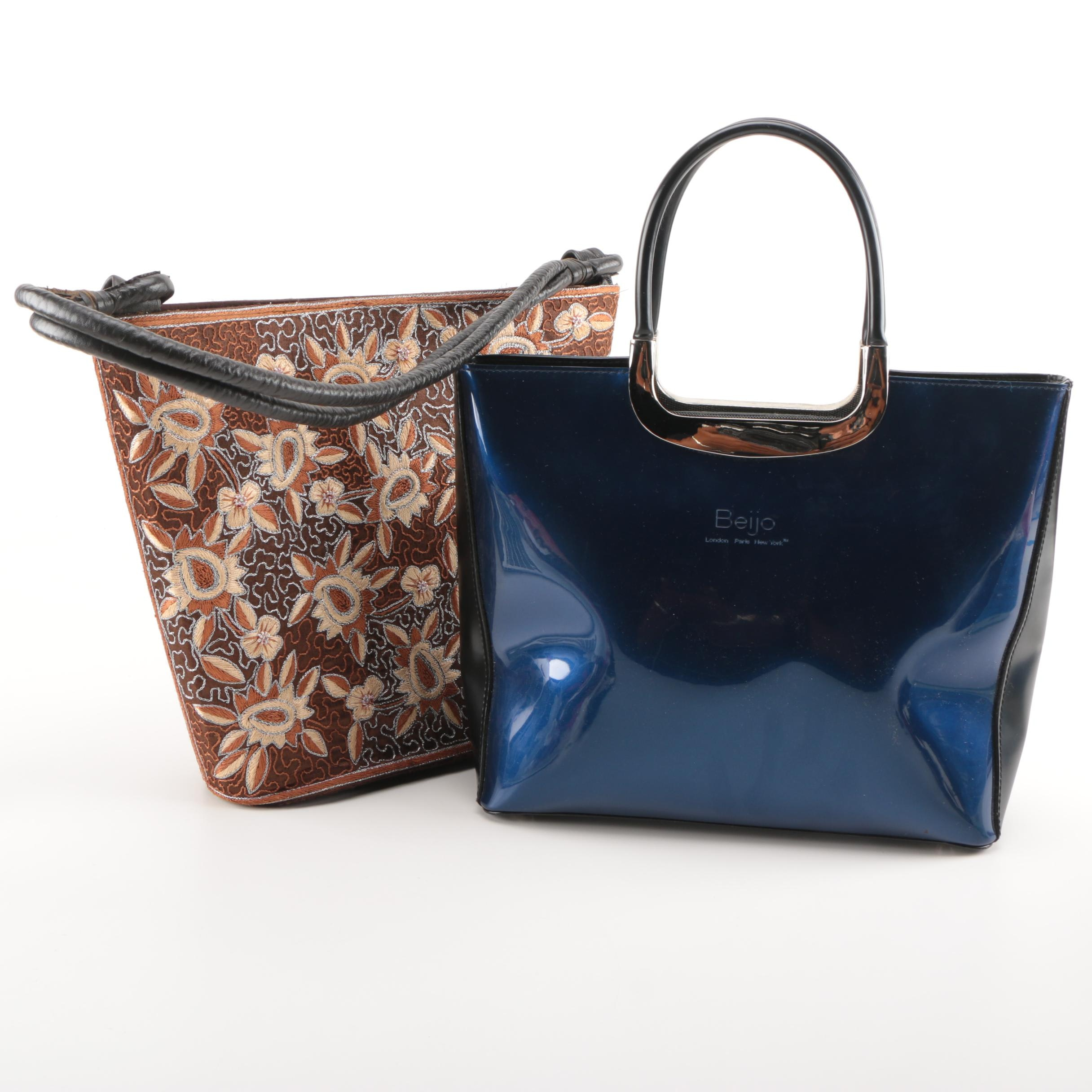Embroidered and Leather Tote's Featuring Beijo