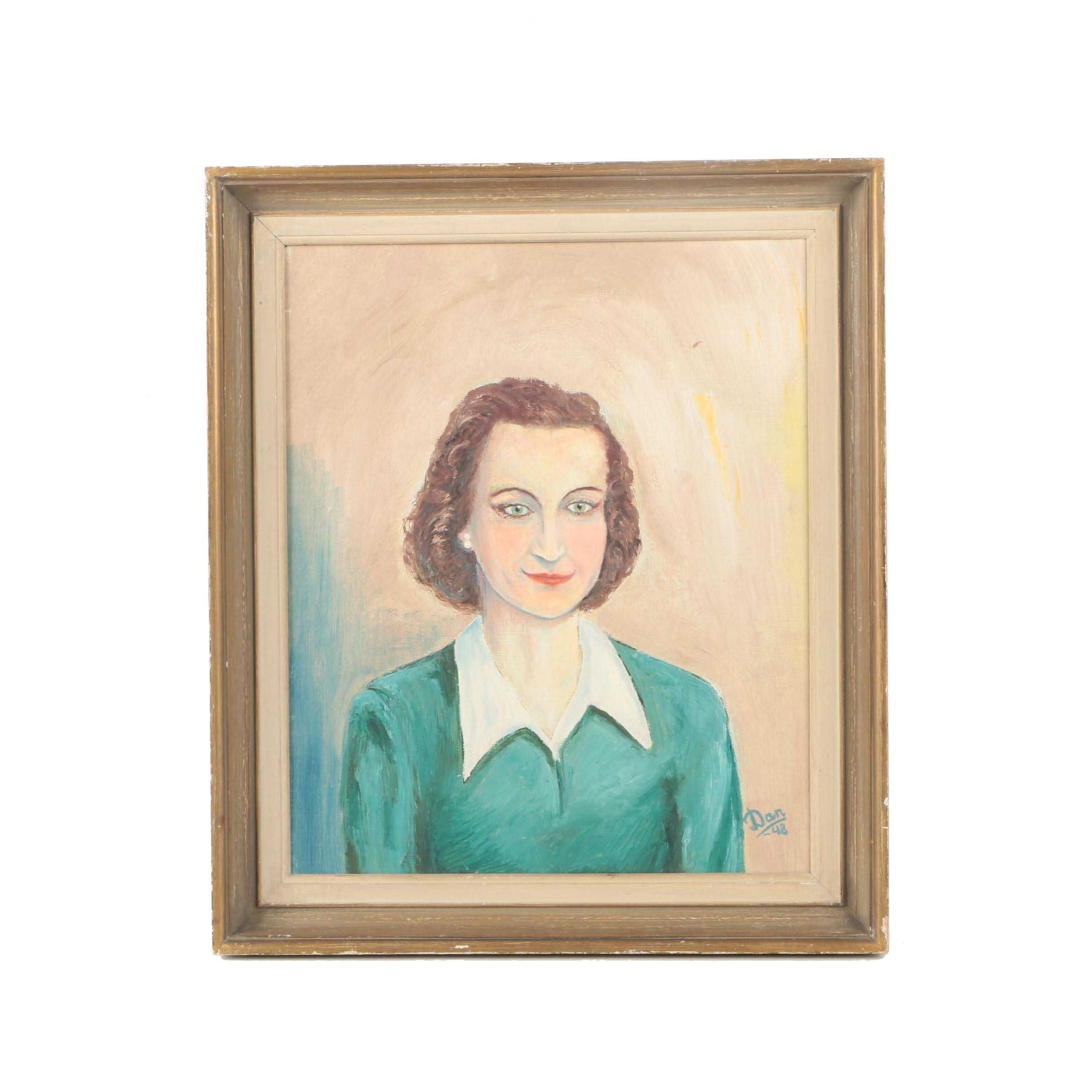 Dan Oil Painting on Canvas Board Portrait of a Woman