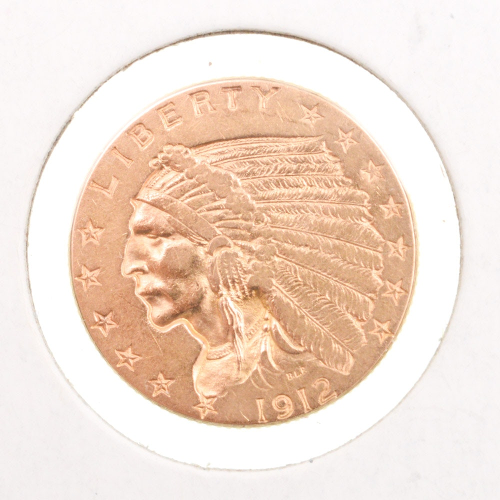 1912 Indian Head $2.50 Gold Coin