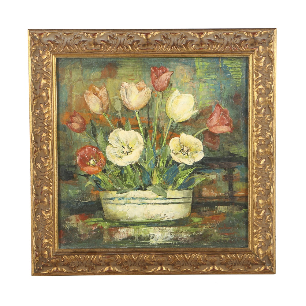 Elmer Capshaw Oil Painting on Board Floral Still Life