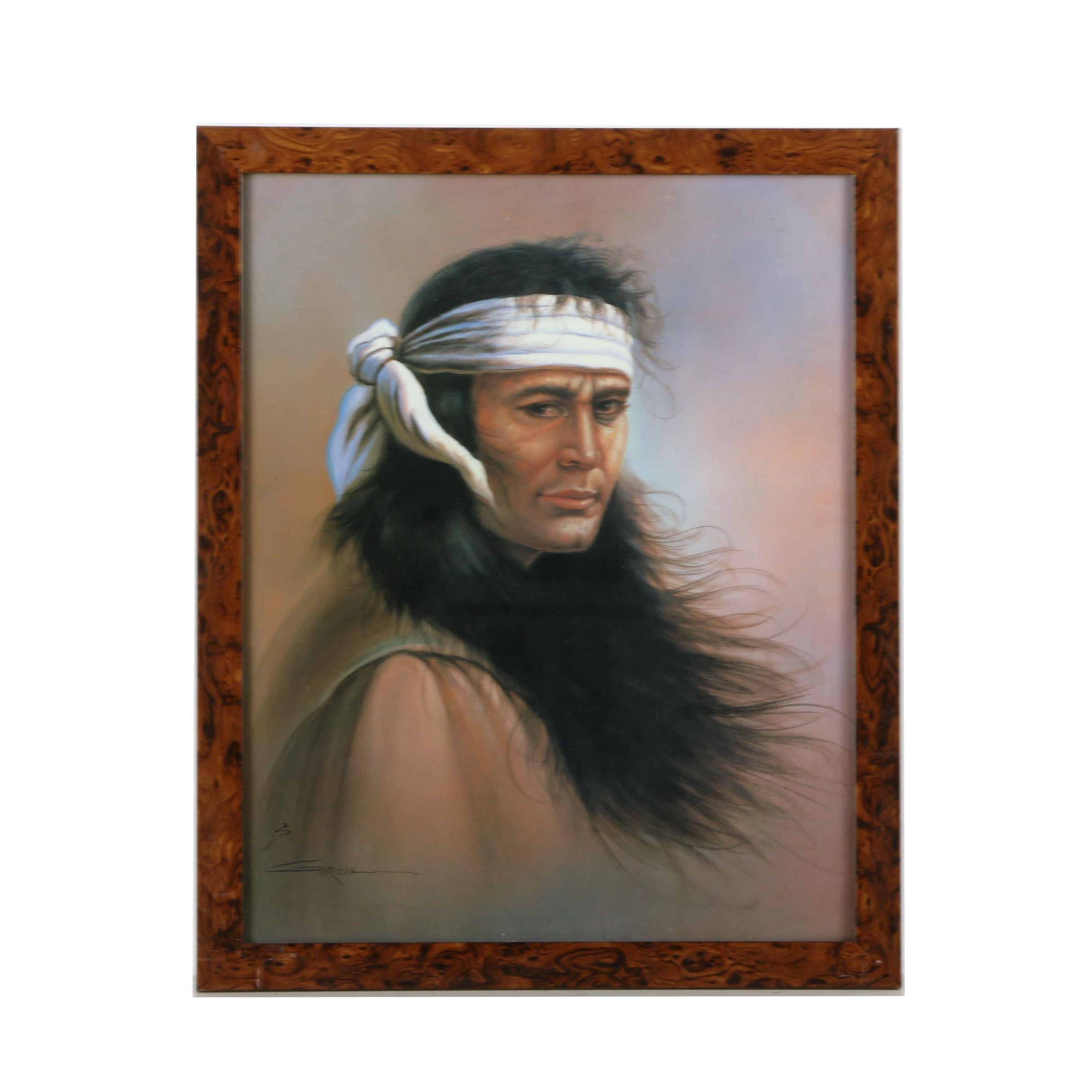"""S. Garcia Offset Lithograph After Peter Nowell's Painting """"Apache Indian Scout"""""""