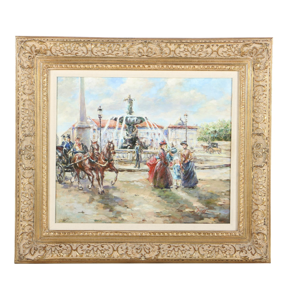 20th-Century Impressionistic Oil Painting on Canvas Town Scene