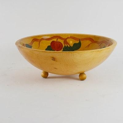 Vintage Hand Painted Wood Bowl