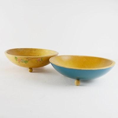 Two Vintage Carved Wood Bowls
