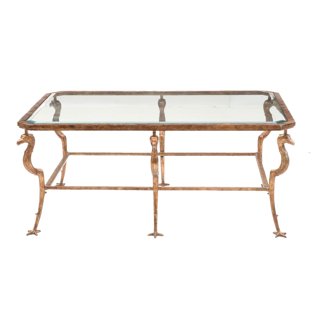Iron and Beveled Glass Coffee Table