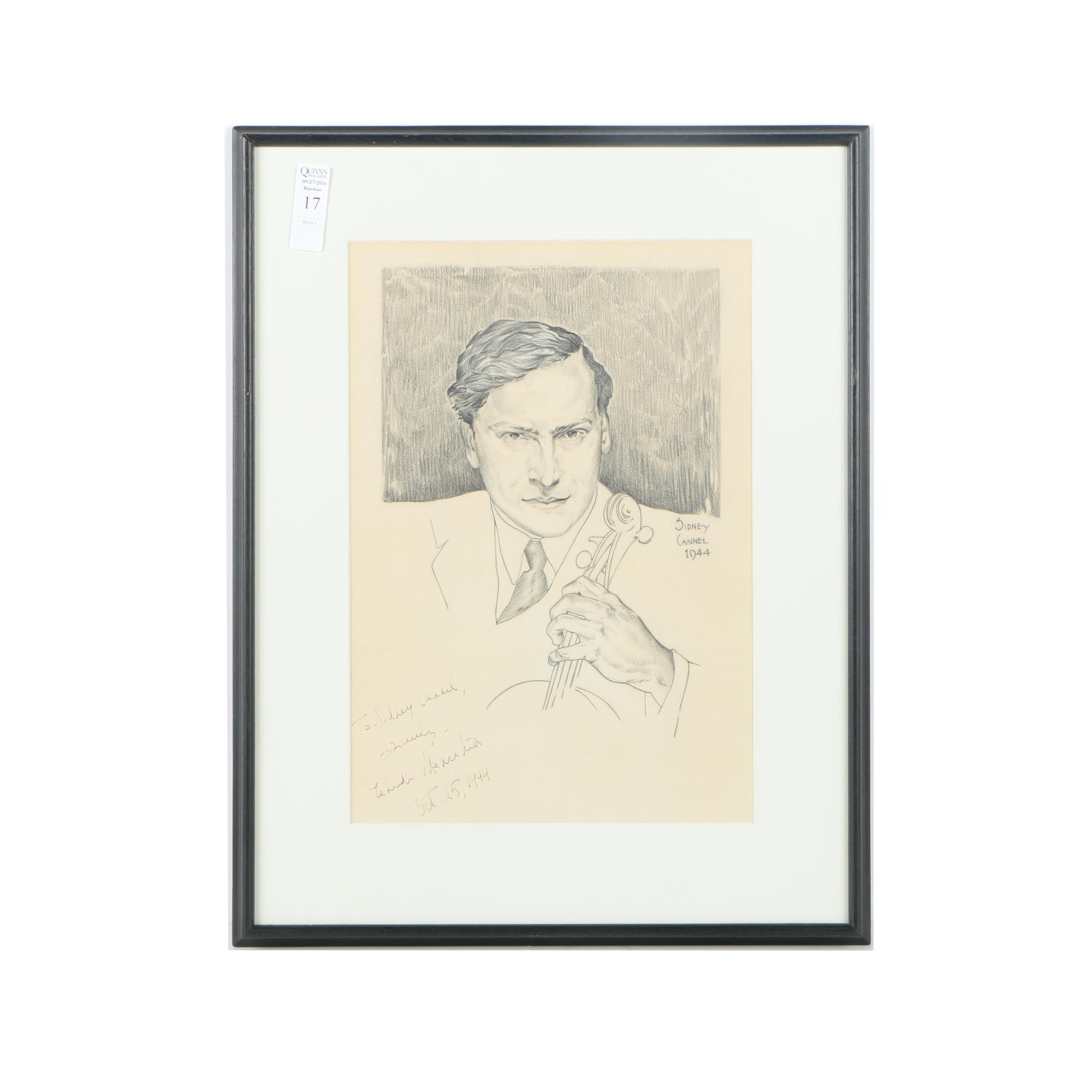Sidney Cannel Autographed 1944 Charcoal Drawing of Yehudi Menuhin