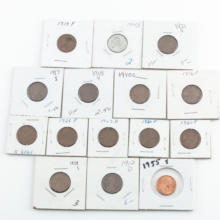 Group of Fifteen Lincoln Wheat Cents