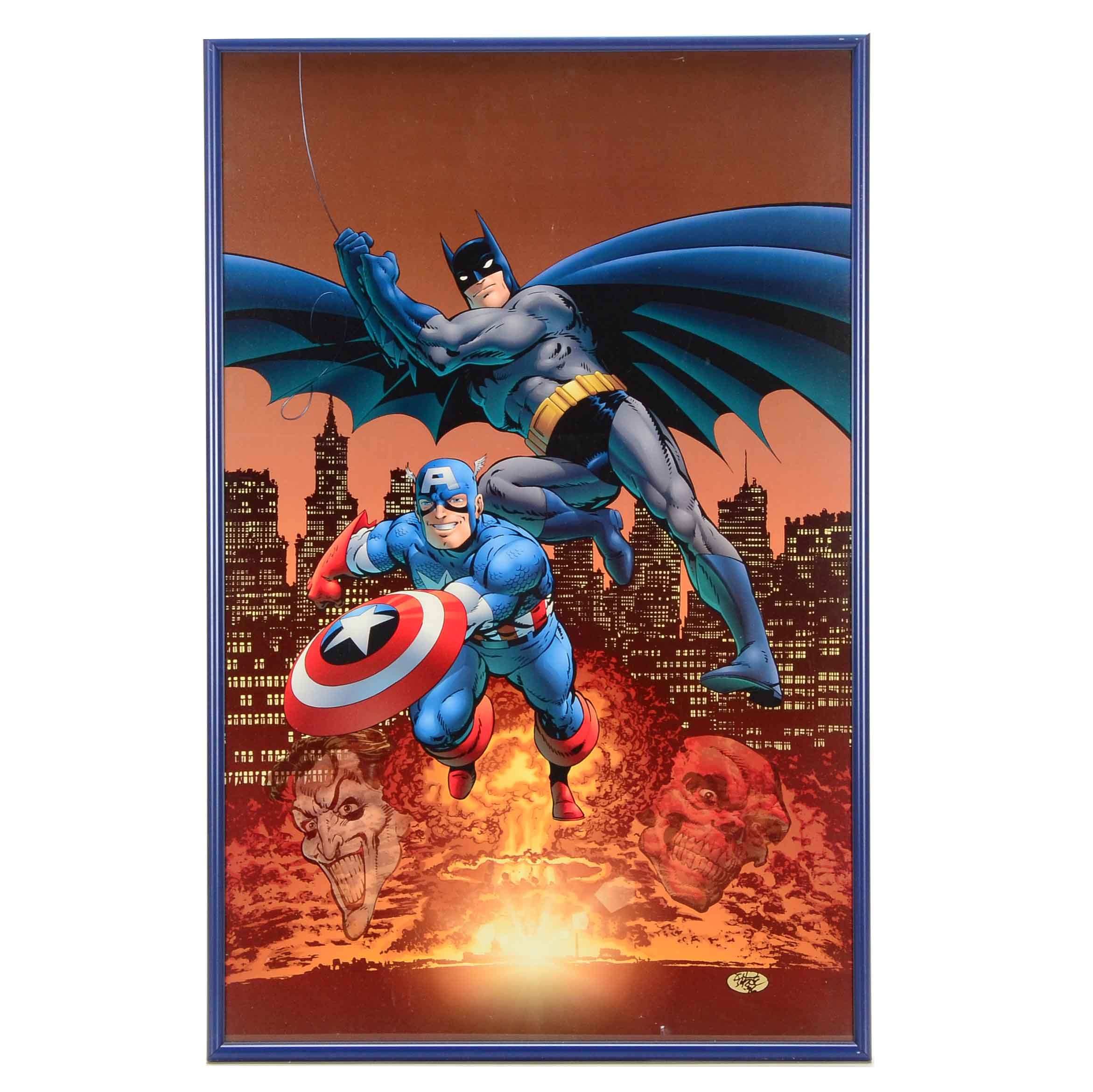 Framed Offset Lithograph Poster of Batman Captain America