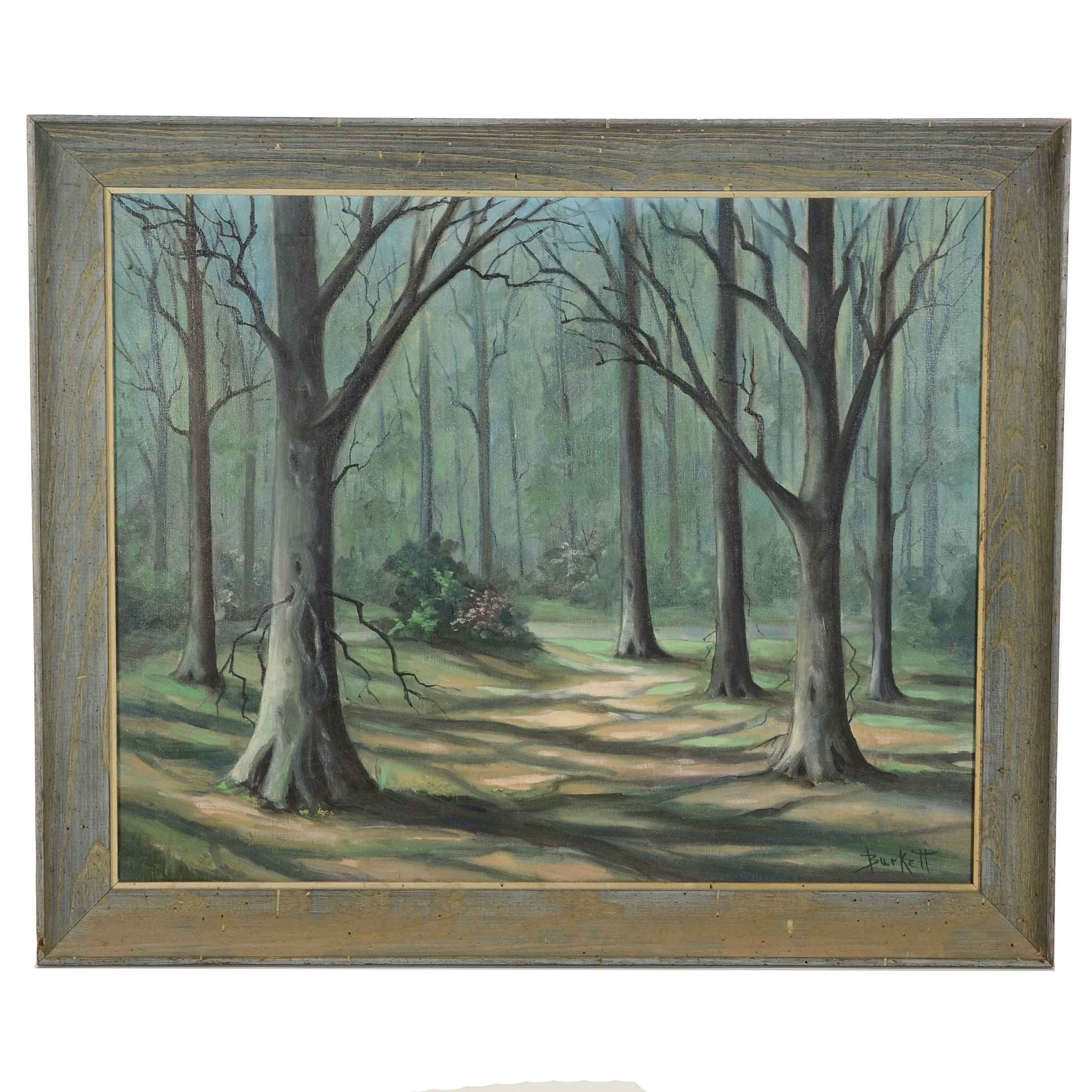 Burkett Signed Original Oil Woodland Landscape Painting on Canvas