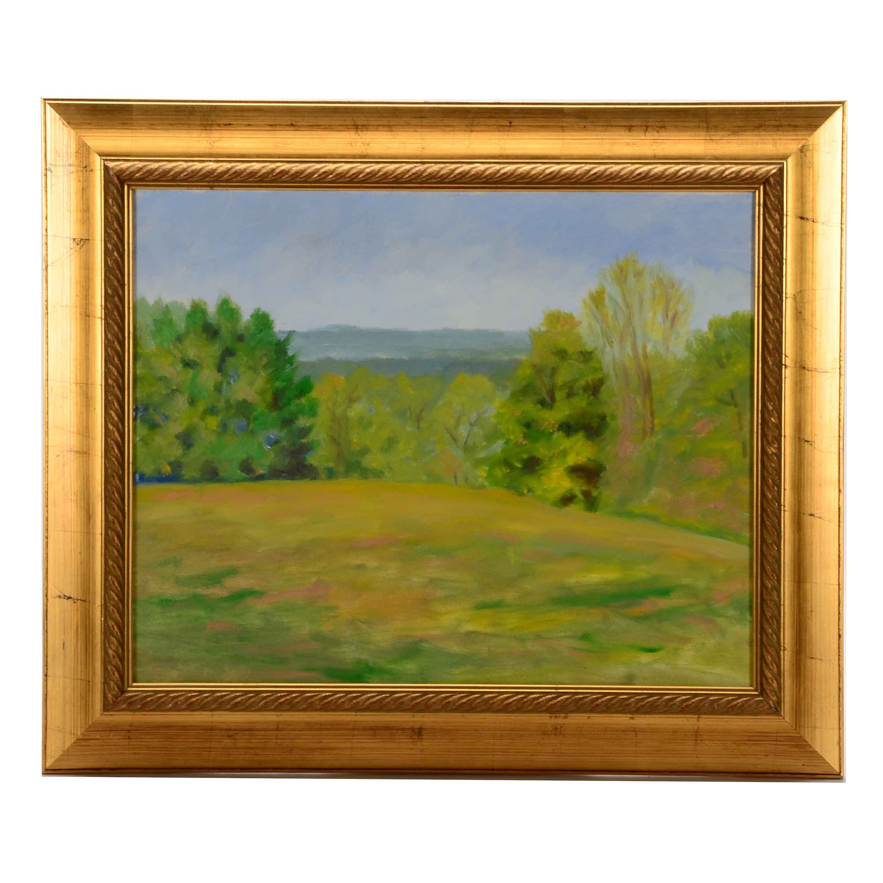 """D. Kendall Cooper Original Oil on Canvas """"View of Western Hills from French Park"""""""