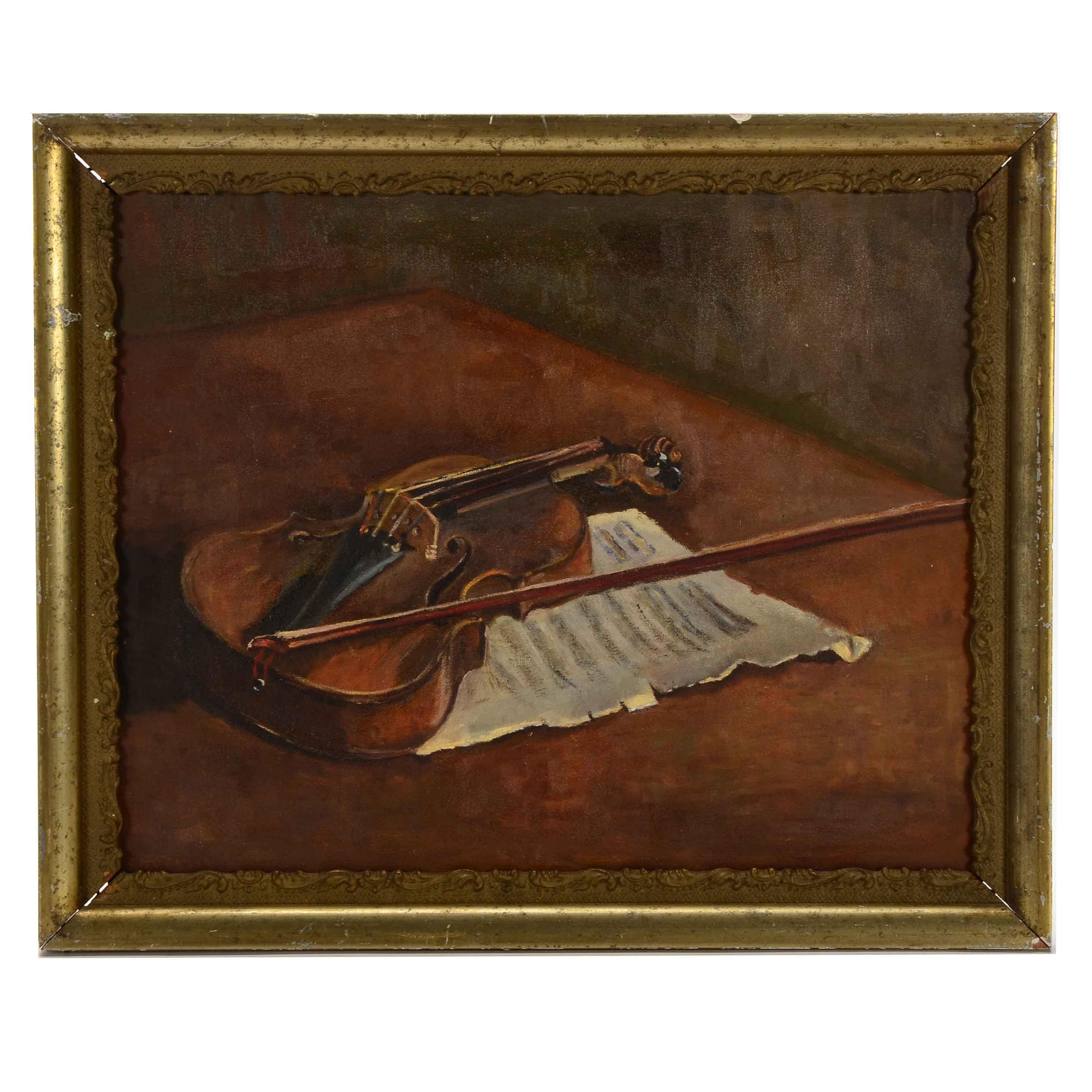 Hopkins Signed Original Oil Still Life with Violin on Canvas