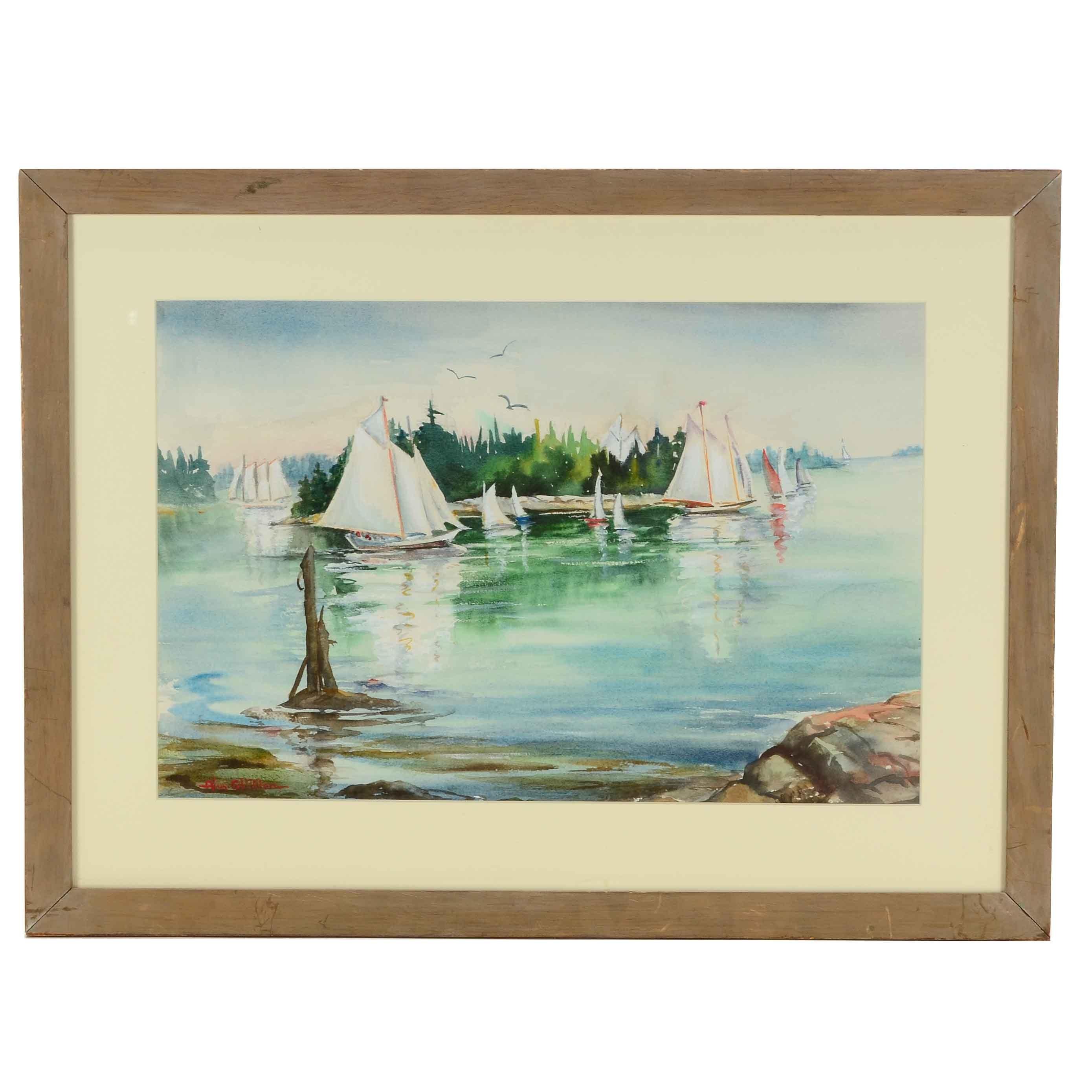Alva Glidden Original Watercolor Marine Scene on Paper