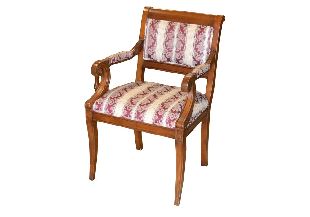 Regency Style Upholstered Arm Chair