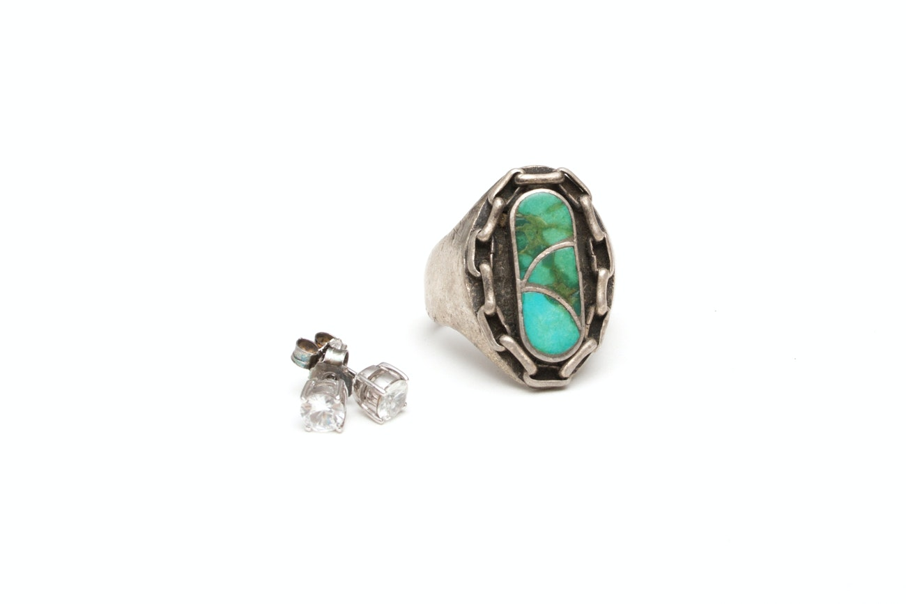 Sterling Silver Southwestern Ring and Zircon Stud Earrings