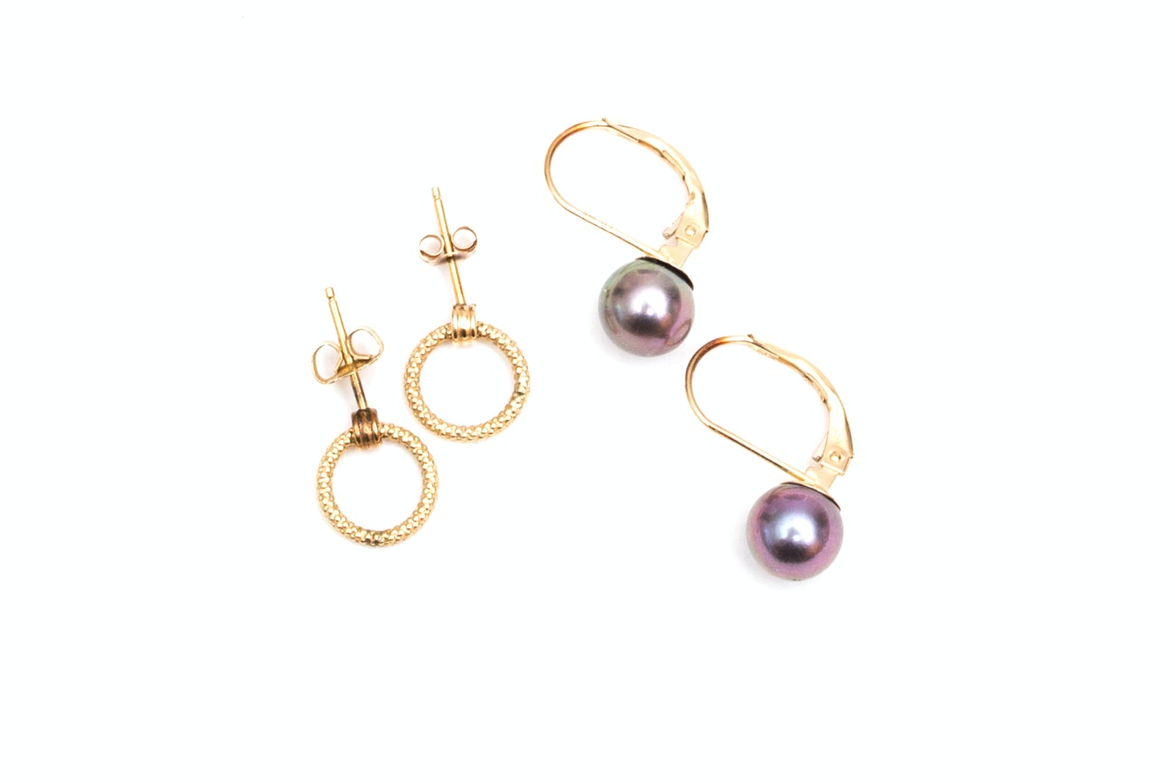 Two Pairs of 14K Gold Earrings, One with Pearls