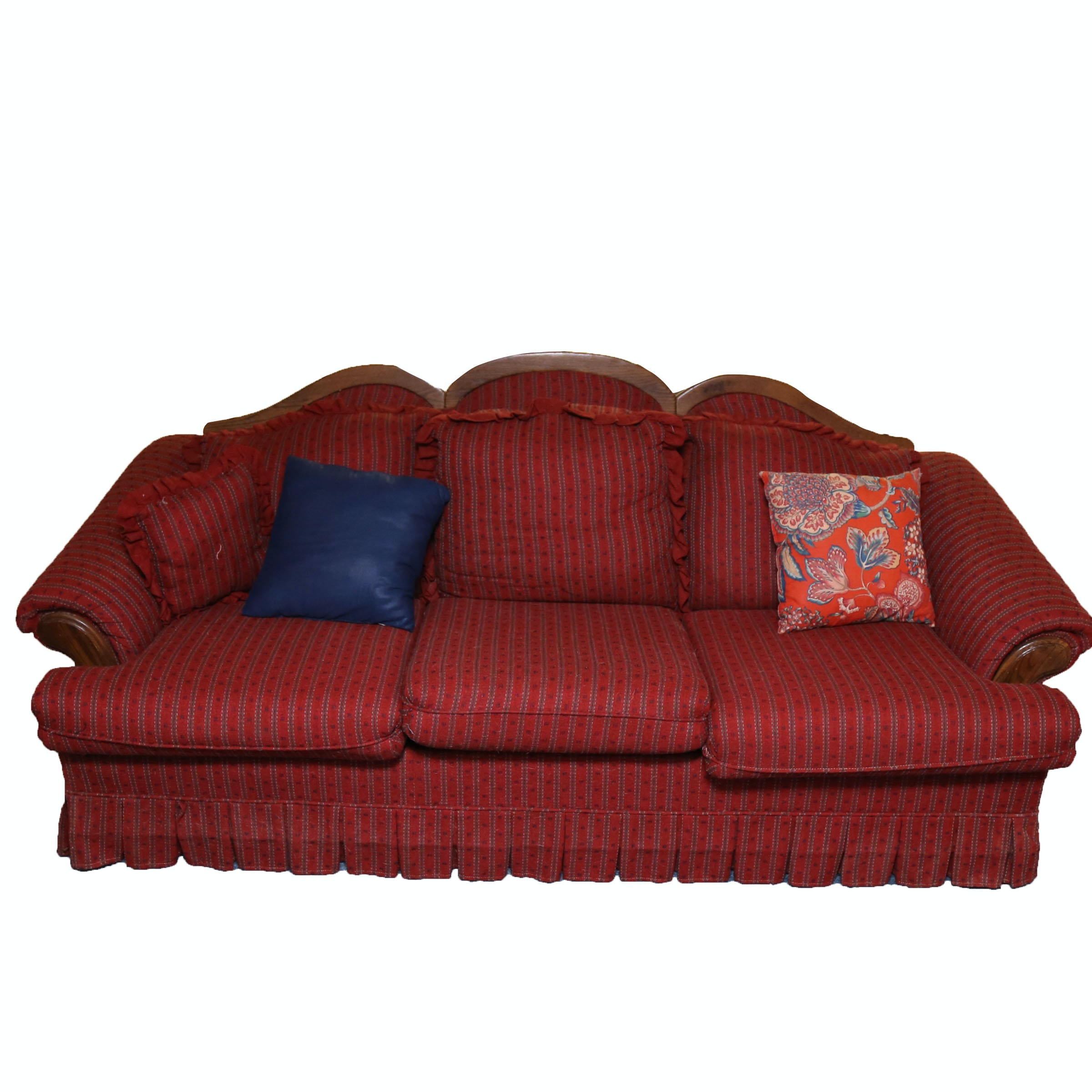 Red Striped Couch With Pillows by Nelson Furniture Inc.